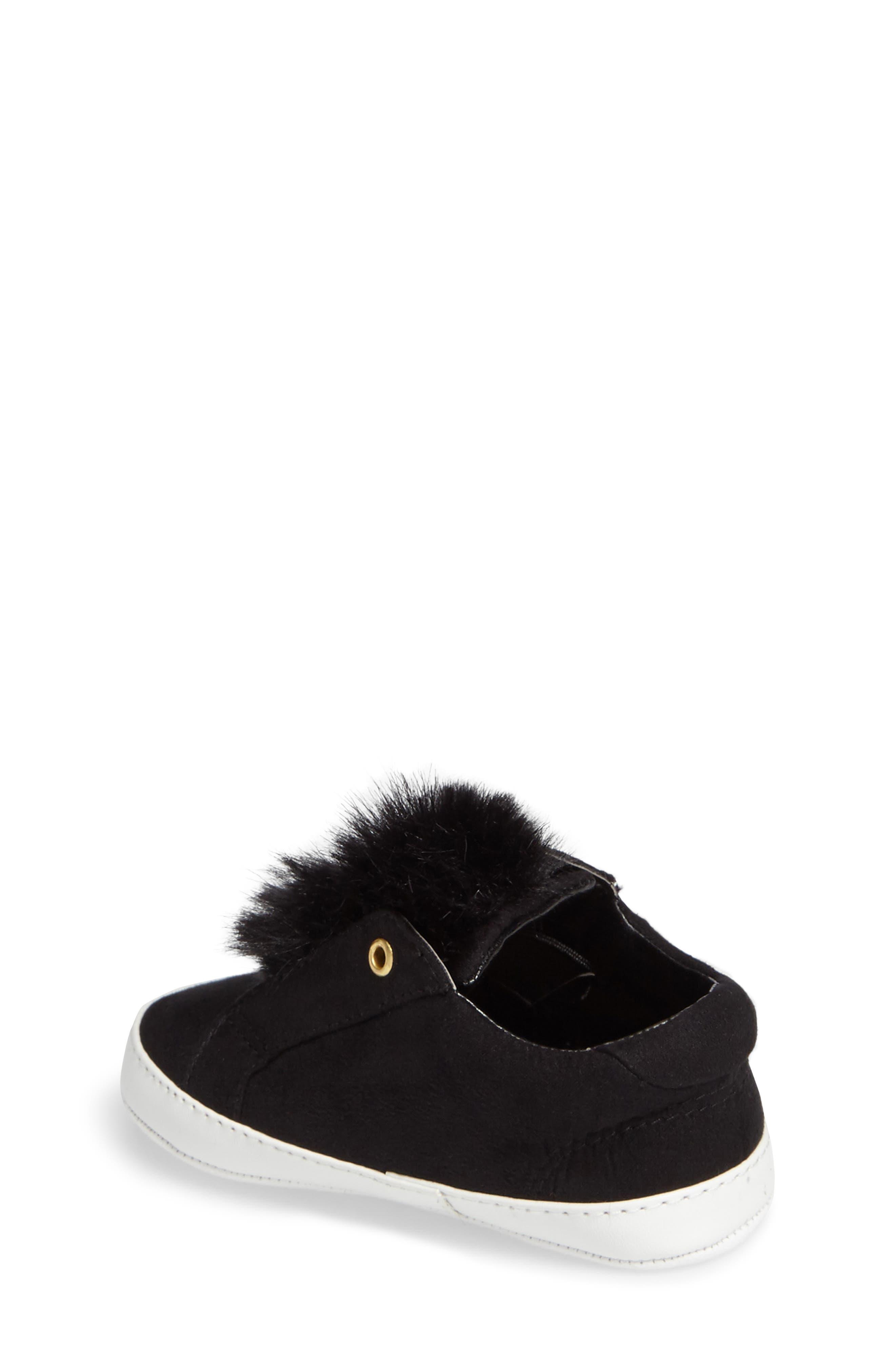 Leya Faux Fur Pompom Sneaker,                             Alternate thumbnail 2, color,                             001
