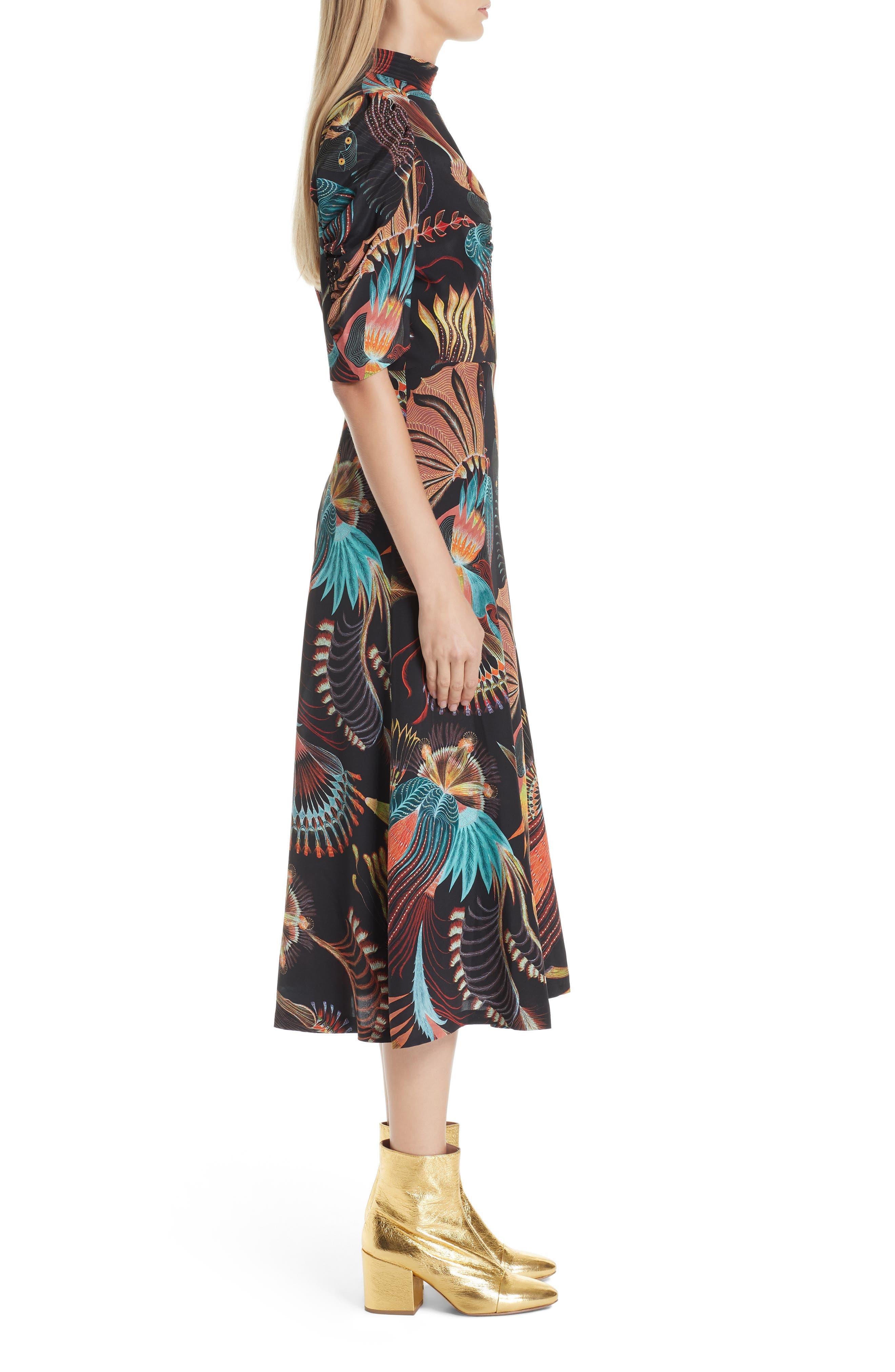 Tattoo Floral Print Silk Dress,                             Alternate thumbnail 3, color,                             BLACK