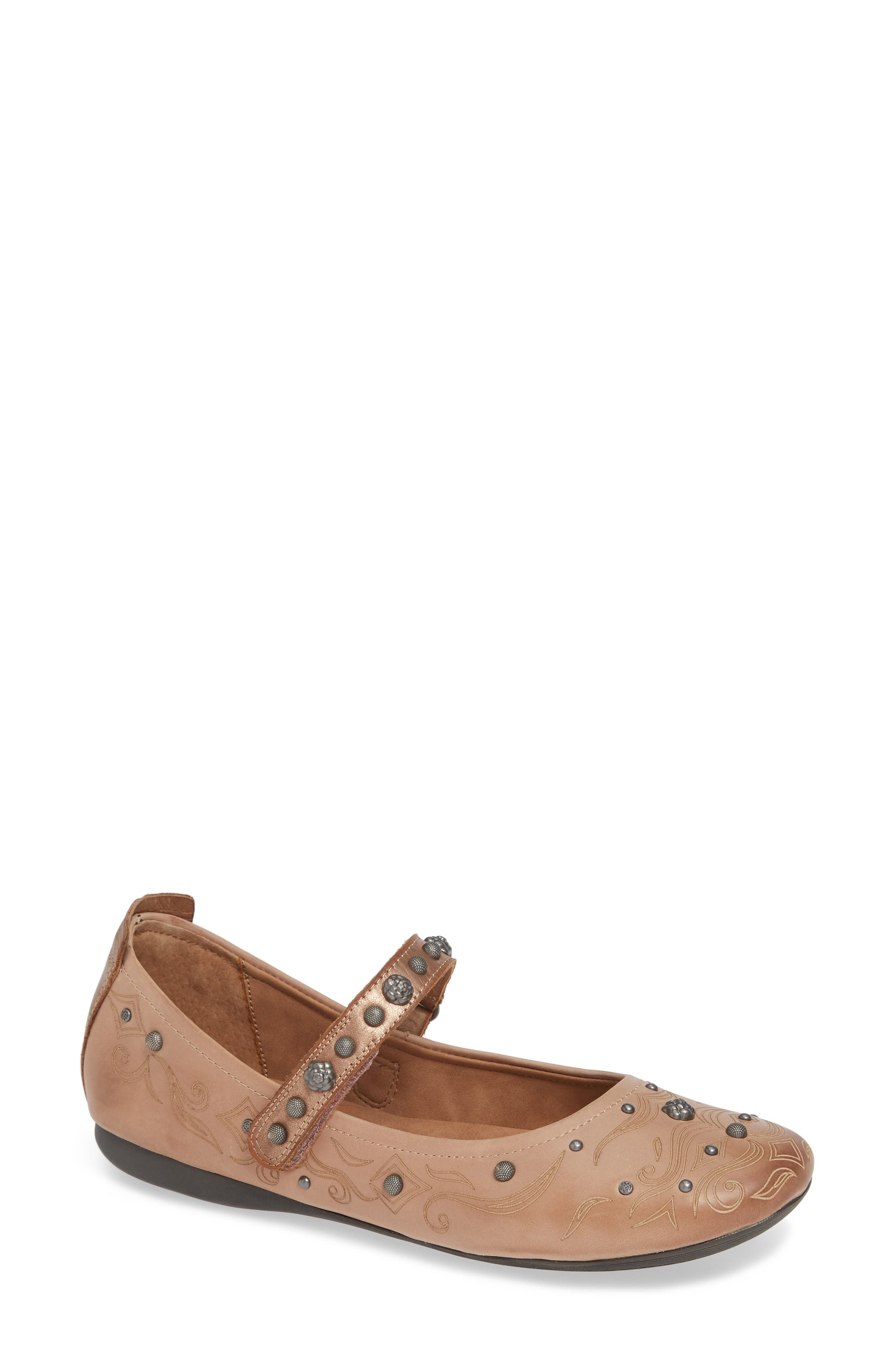 Gamine 2 Mary Jane Flat,                         Main,                         color, WARM PINK LEATHER