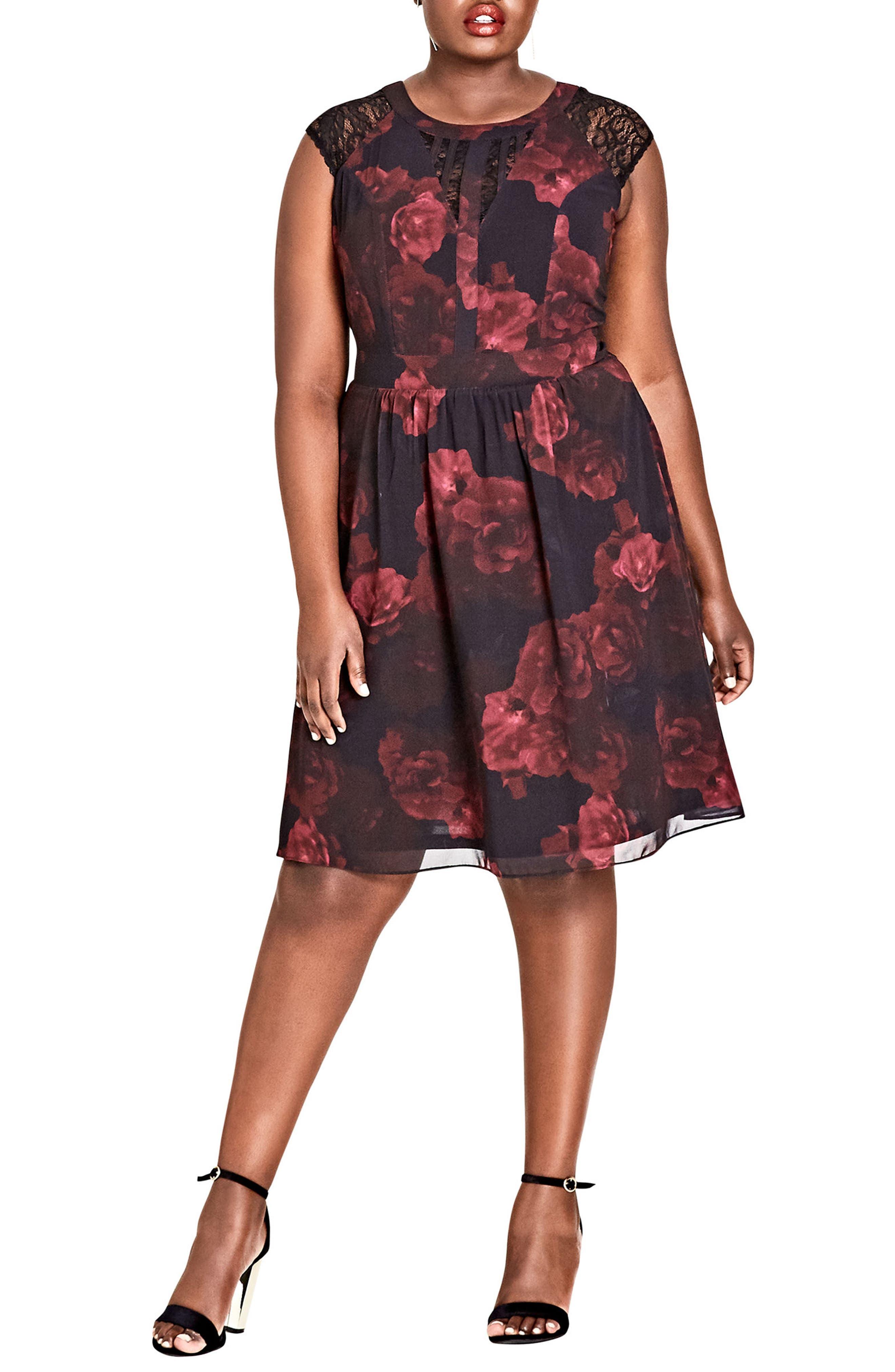 Plus Size City Chic Crimson Rose Fit & Flare Dress, Black