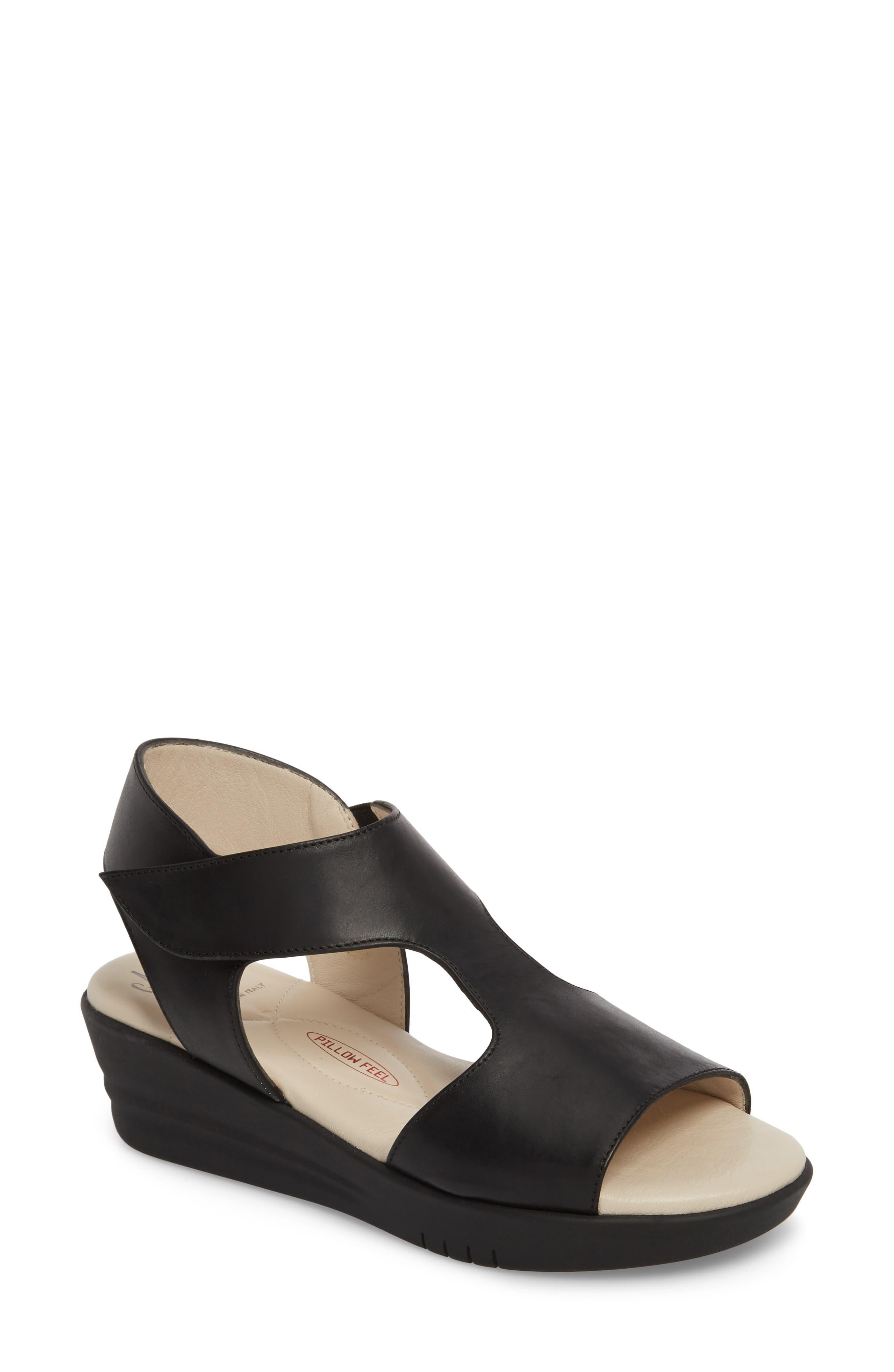 Gabby Platform Sandal,                             Main thumbnail 1, color,                             BLACK LEATHER