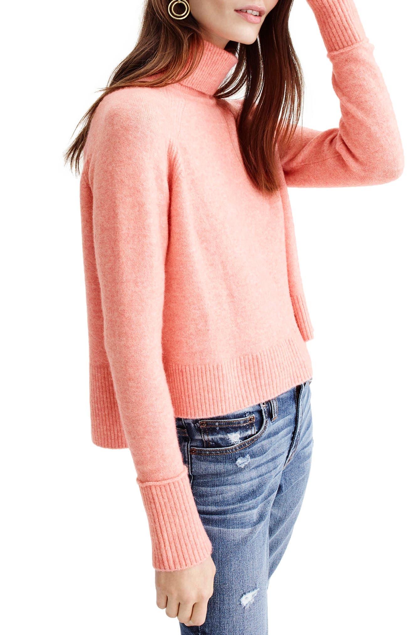 Side Slit Supersoft Turtleneck Sweater,                             Main thumbnail 4, color,
