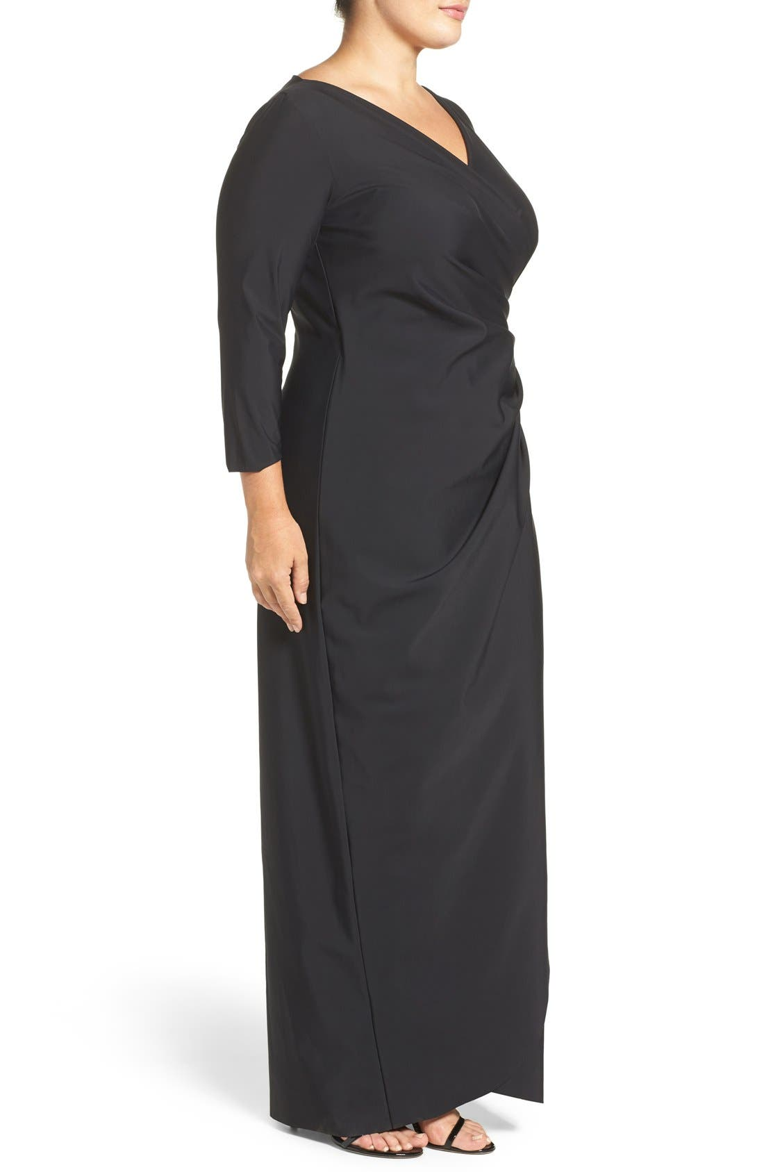 Embellished Side Ruched Jersey Gown,                             Alternate thumbnail 3, color,                             001