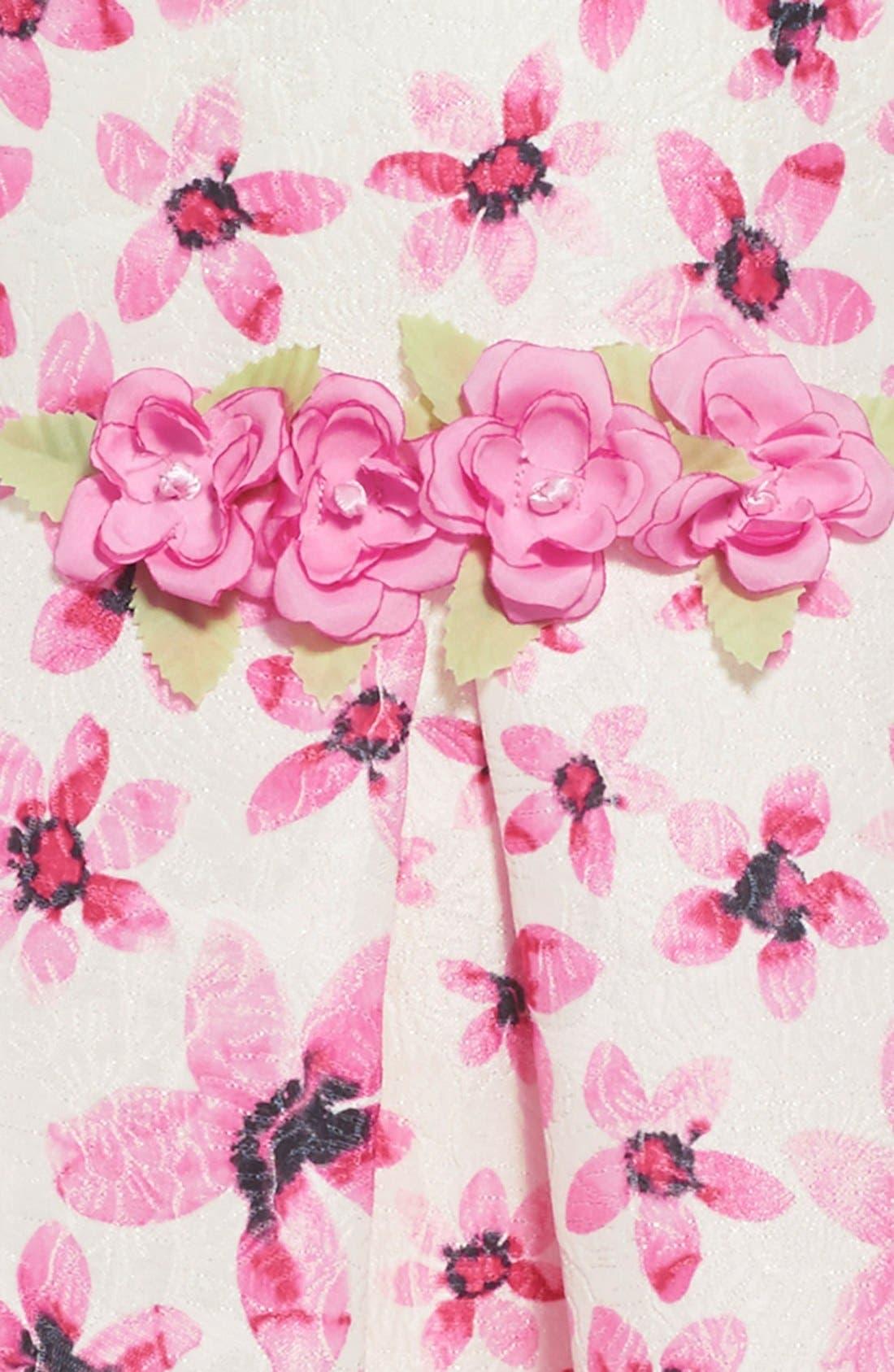 Floral Print Peter Pan Collar Dress,                             Alternate thumbnail 3, color,                             106