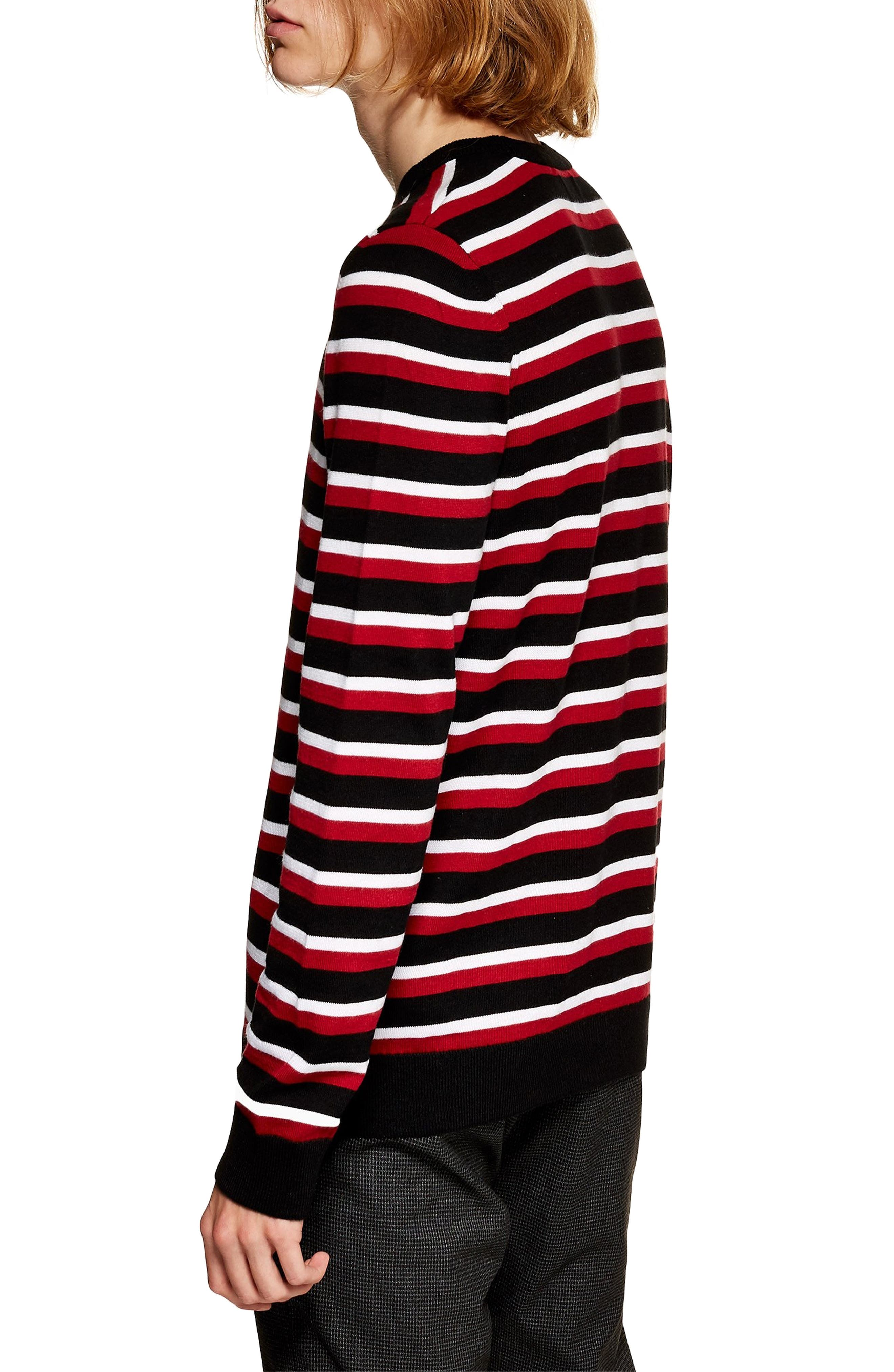 Stripe Crewneck Sweater,                             Alternate thumbnail 2, color,                             RED MULTI