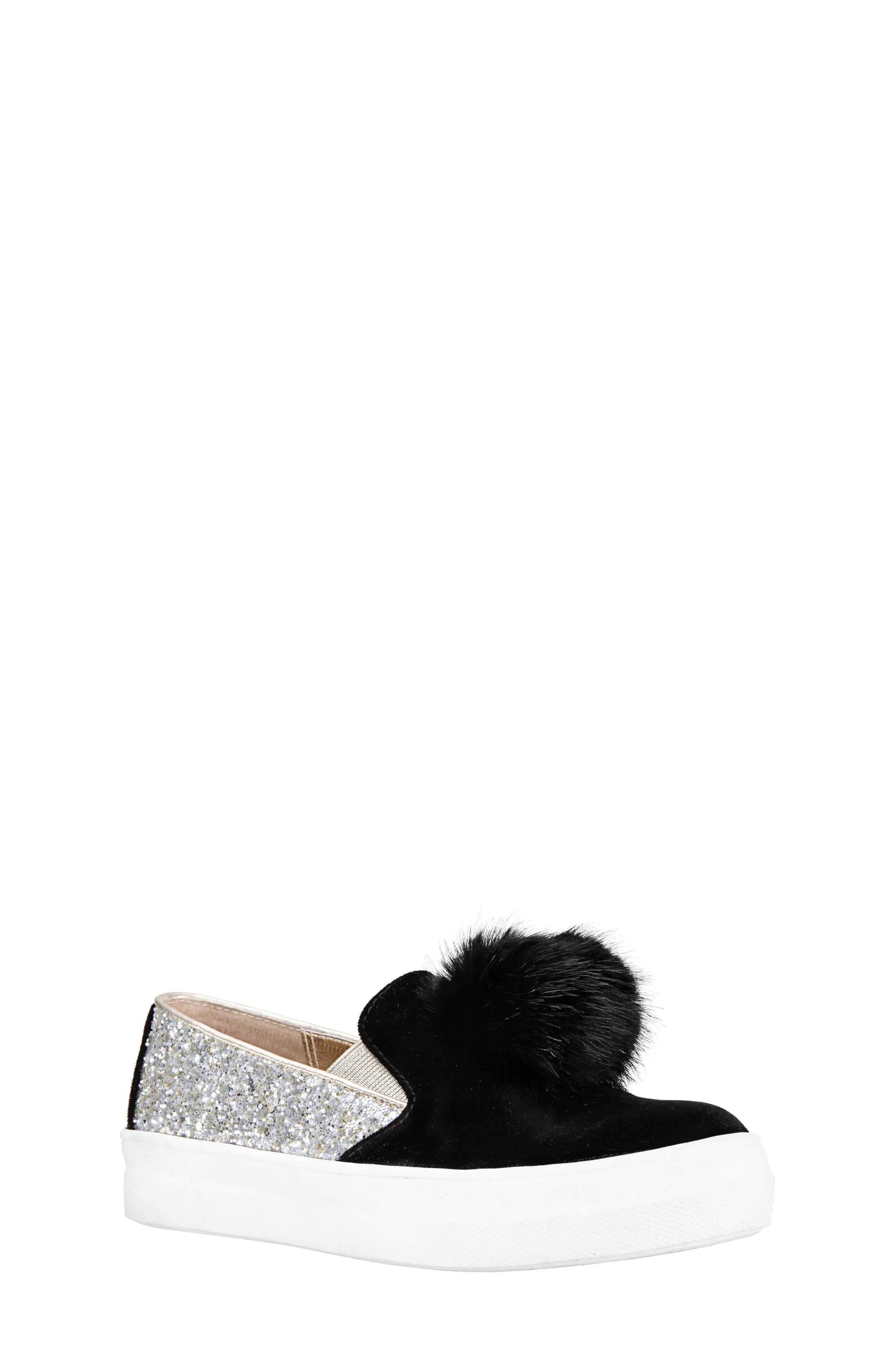 Hannie Glitter Pom Slip-On Sneaker,                             Main thumbnail 1, color,                             BLACK CHUNKY GLITTER/ VELVET
