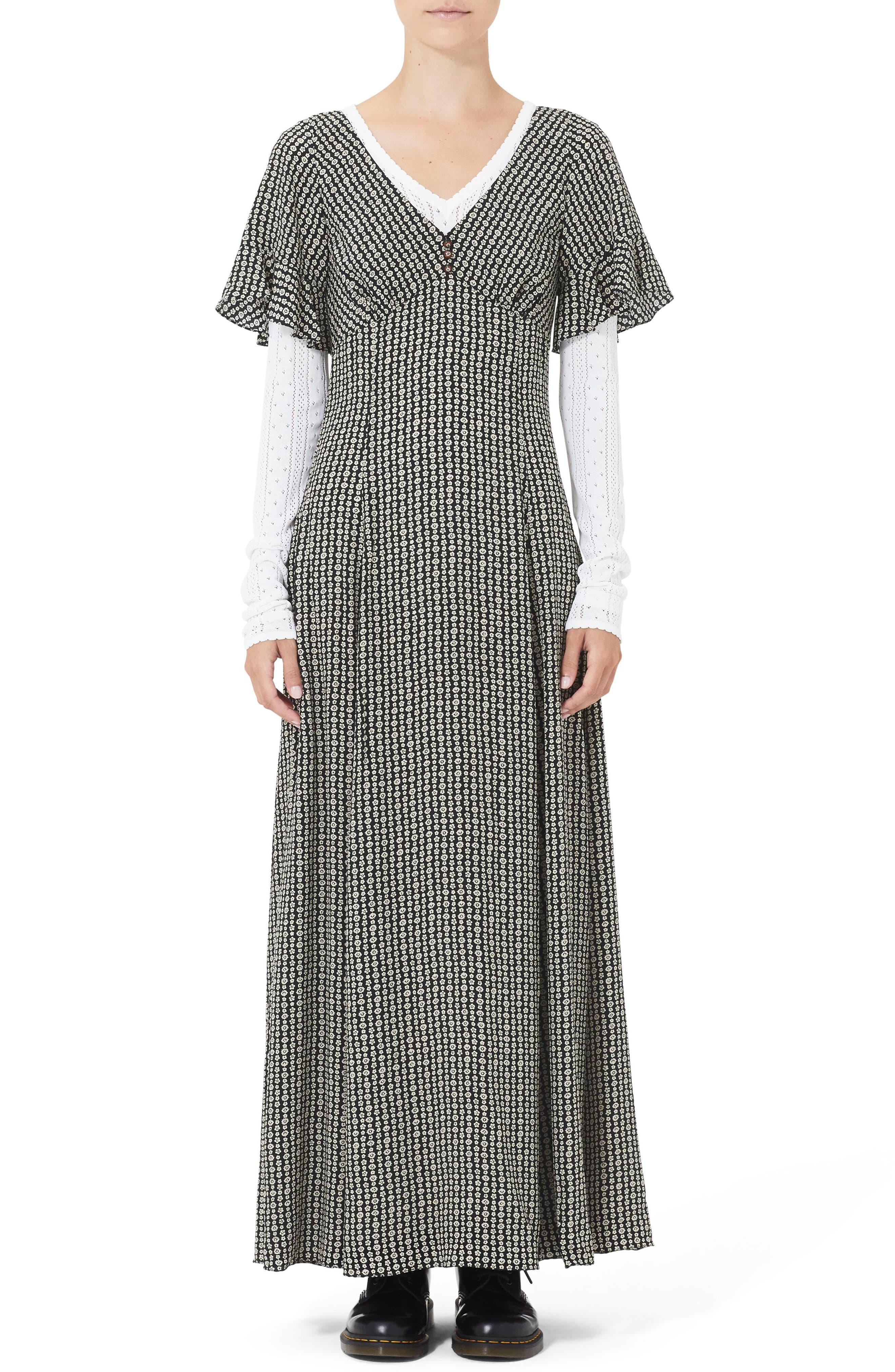 Ruffle Sleeve Floral Print Silk Maxi Dress in Black Multi