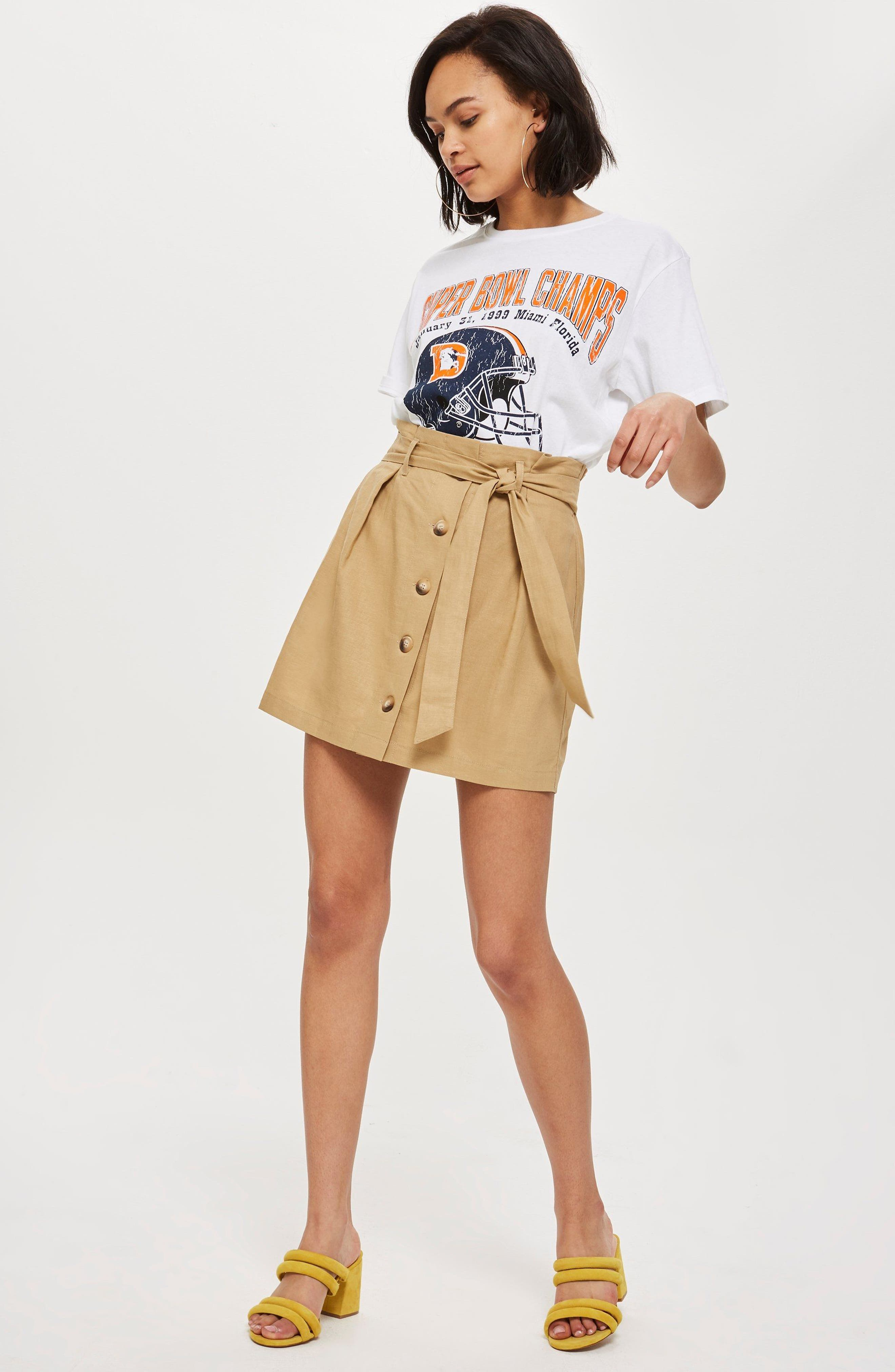 Linen Button Paperbag Miniskirt,                             Alternate thumbnail 4, color,                             CAMEL