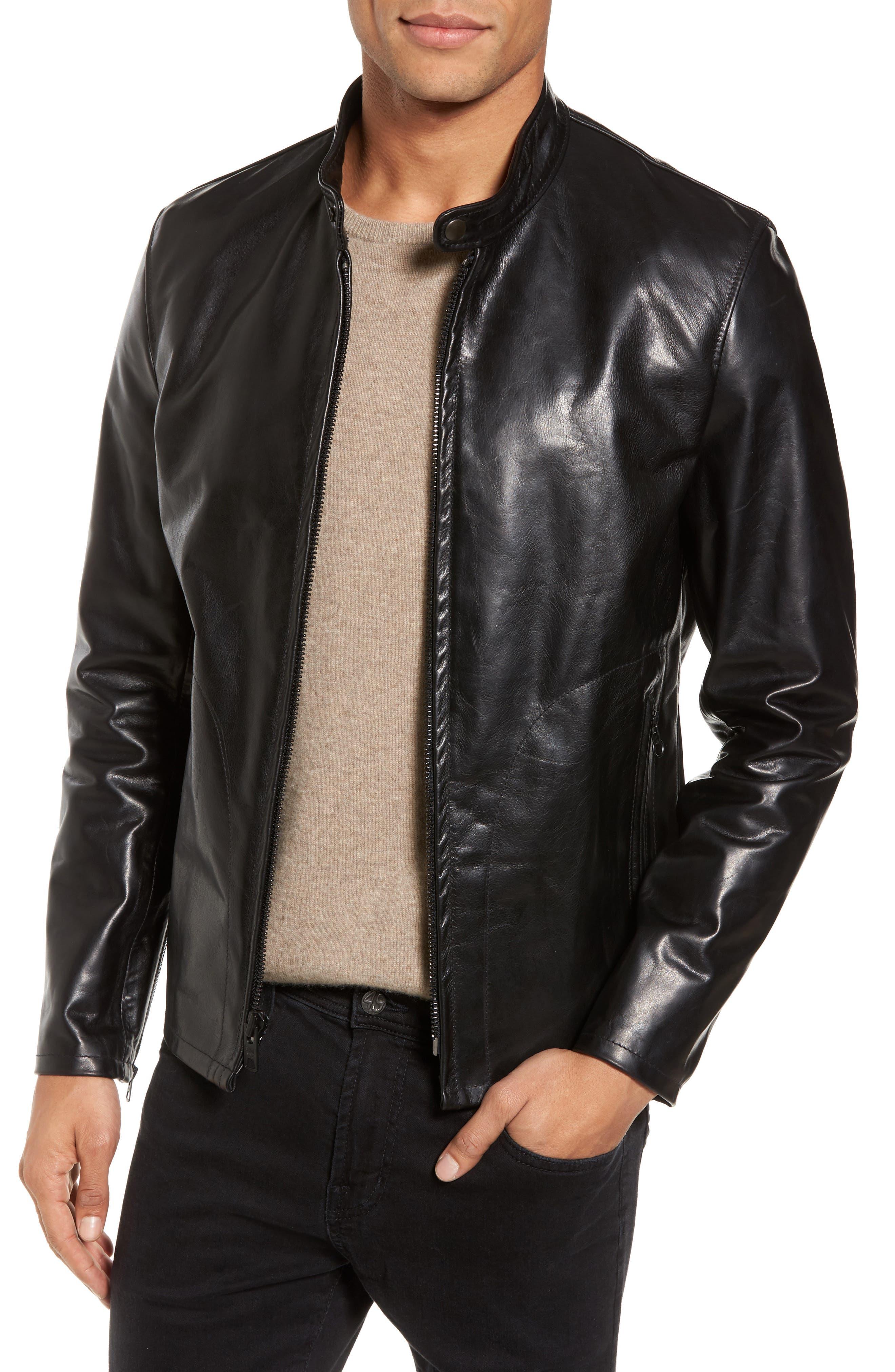 Café Racer Unlined Cowhide Leather Jacket,                         Main,                         color, BLACK