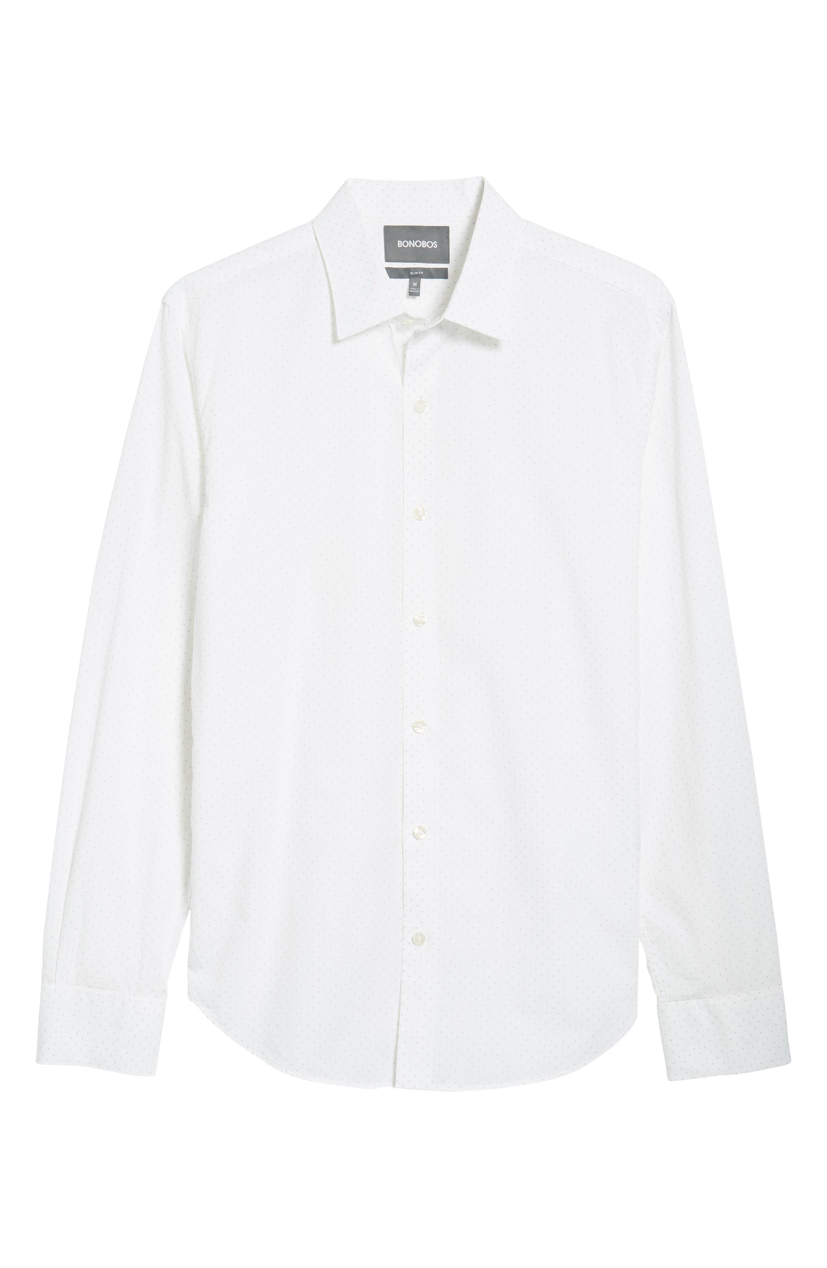 Unbutton Down Slim Fit Dot Sport Shirt,                             Alternate thumbnail 6, color,                             100