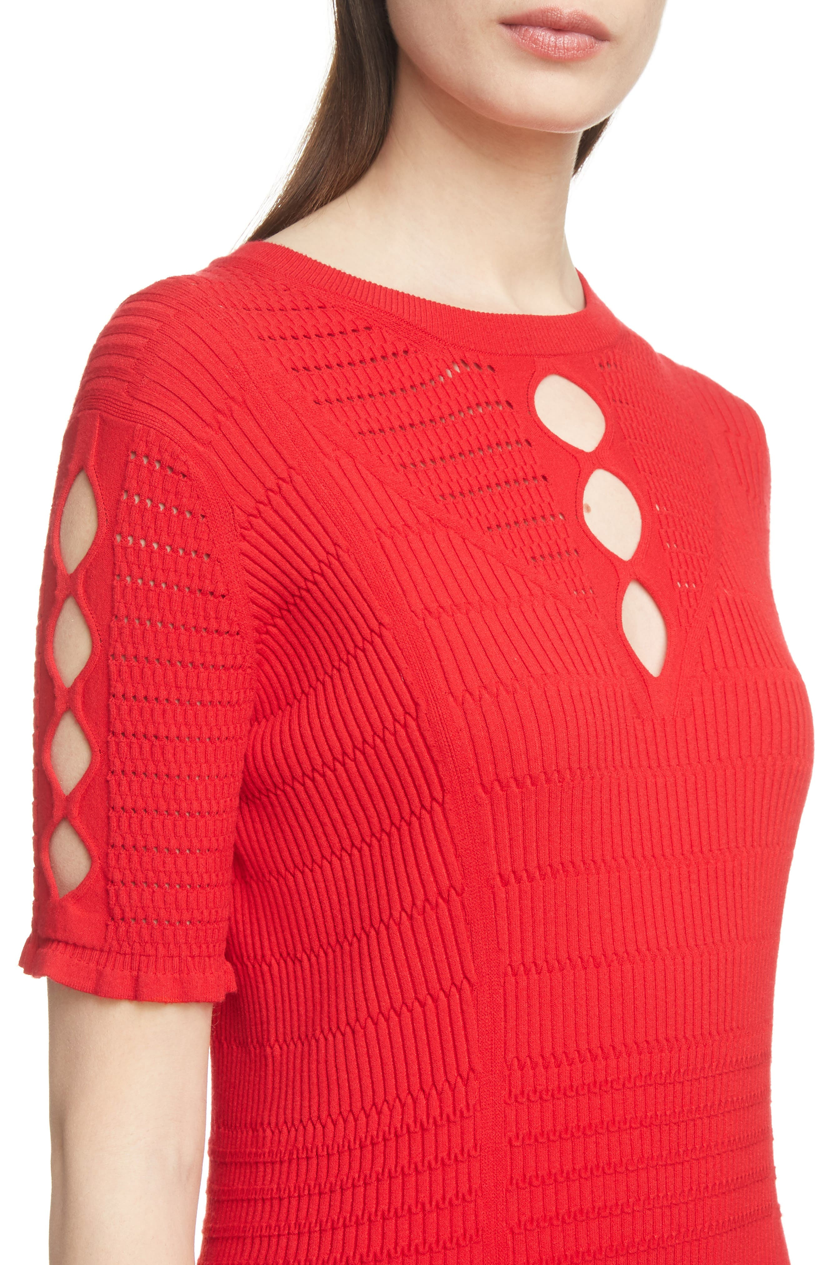 Textured Knit Dress,                             Alternate thumbnail 4, color,                             RED
