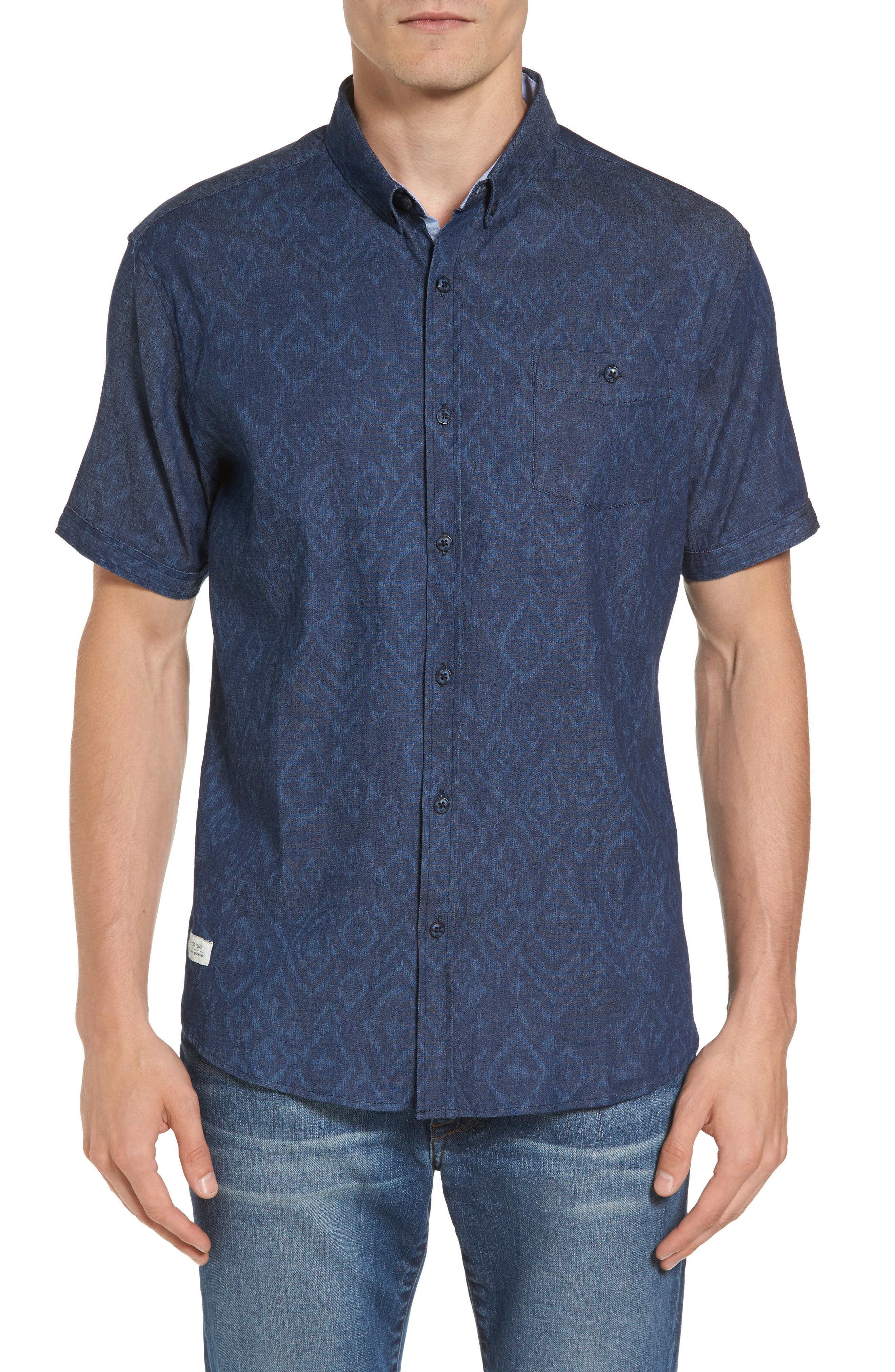 Marquee Moon Print Woven Shirt,                             Main thumbnail 1, color,                             410