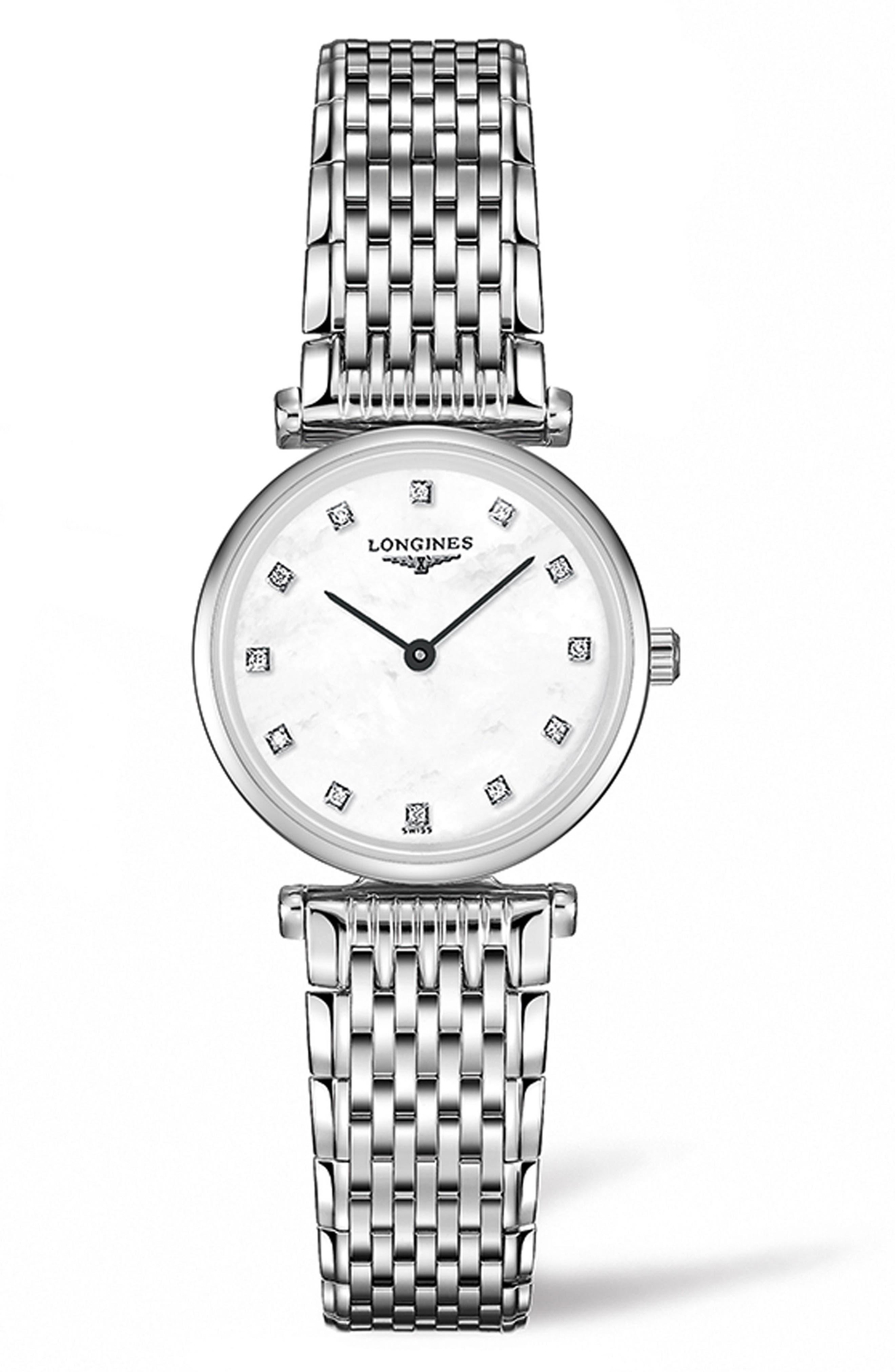 La Grande Classique de Longines Diamond Bracelet Watch, 24mm,                             Main thumbnail 1, color,                             SILVER/ MOP/ SILVER
