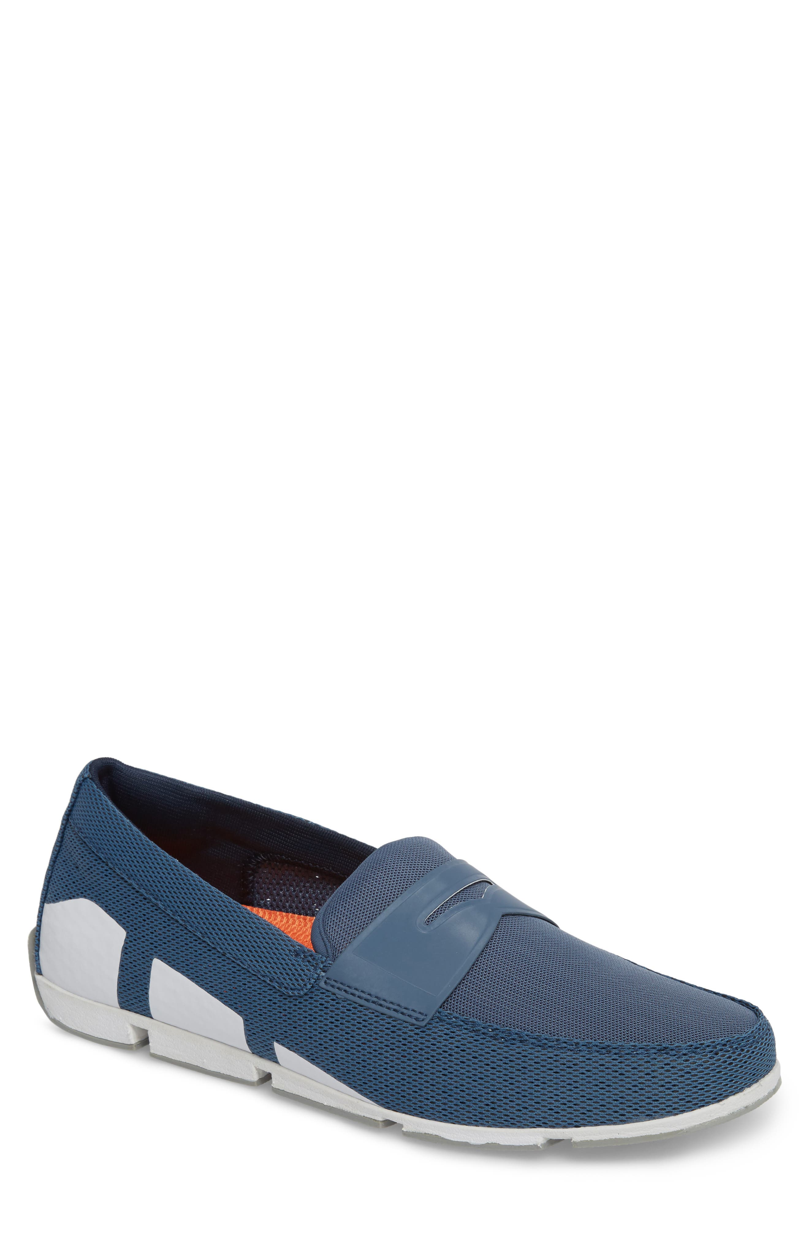 Breeze Penny Loafer,                             Main thumbnail 1, color,                             SLATE/ WHITE/ GREY FABRIC