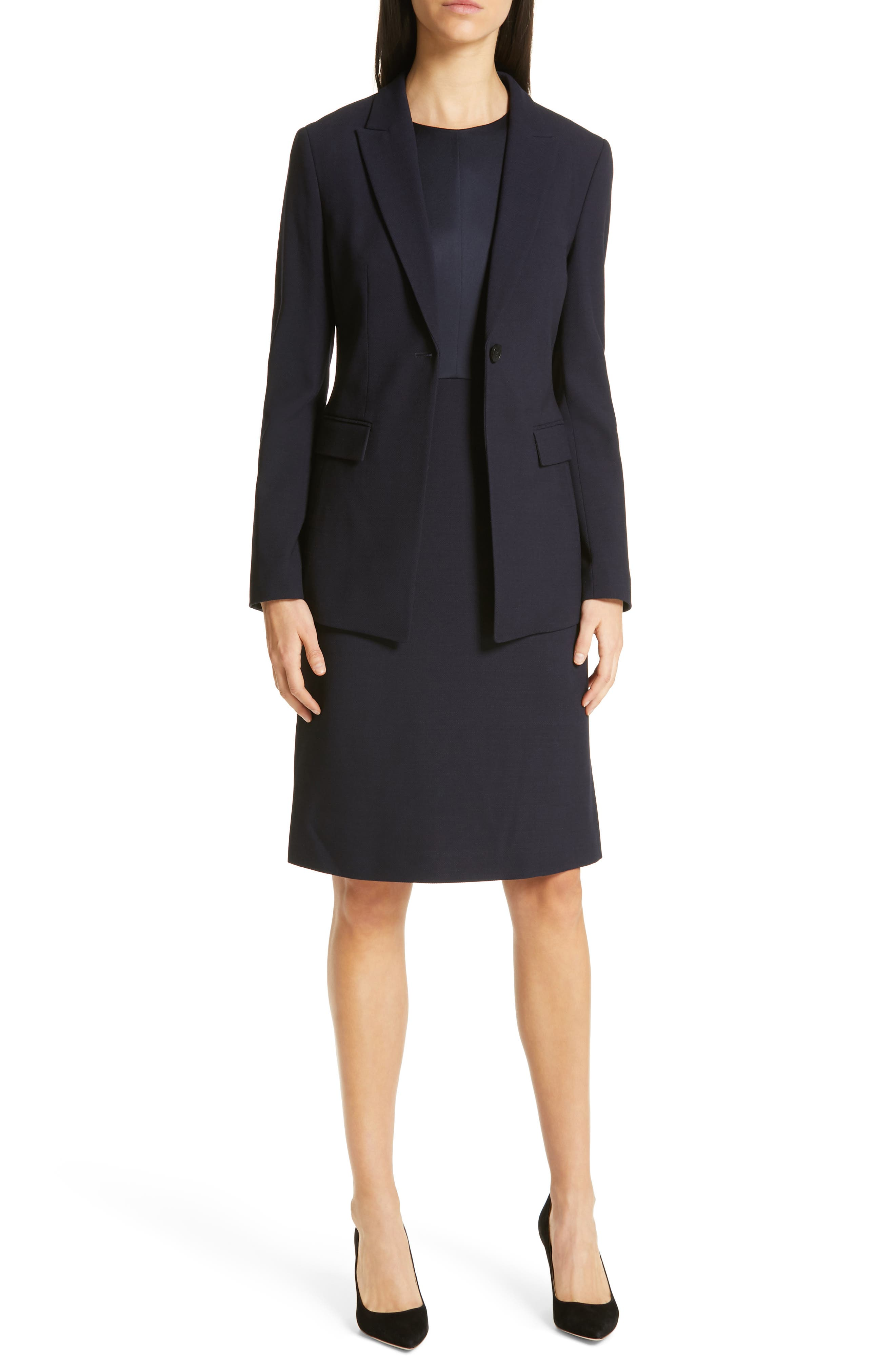 Jusanna Stretch Wool Suit Jacket,                             Alternate thumbnail 7, color,                             NAVY