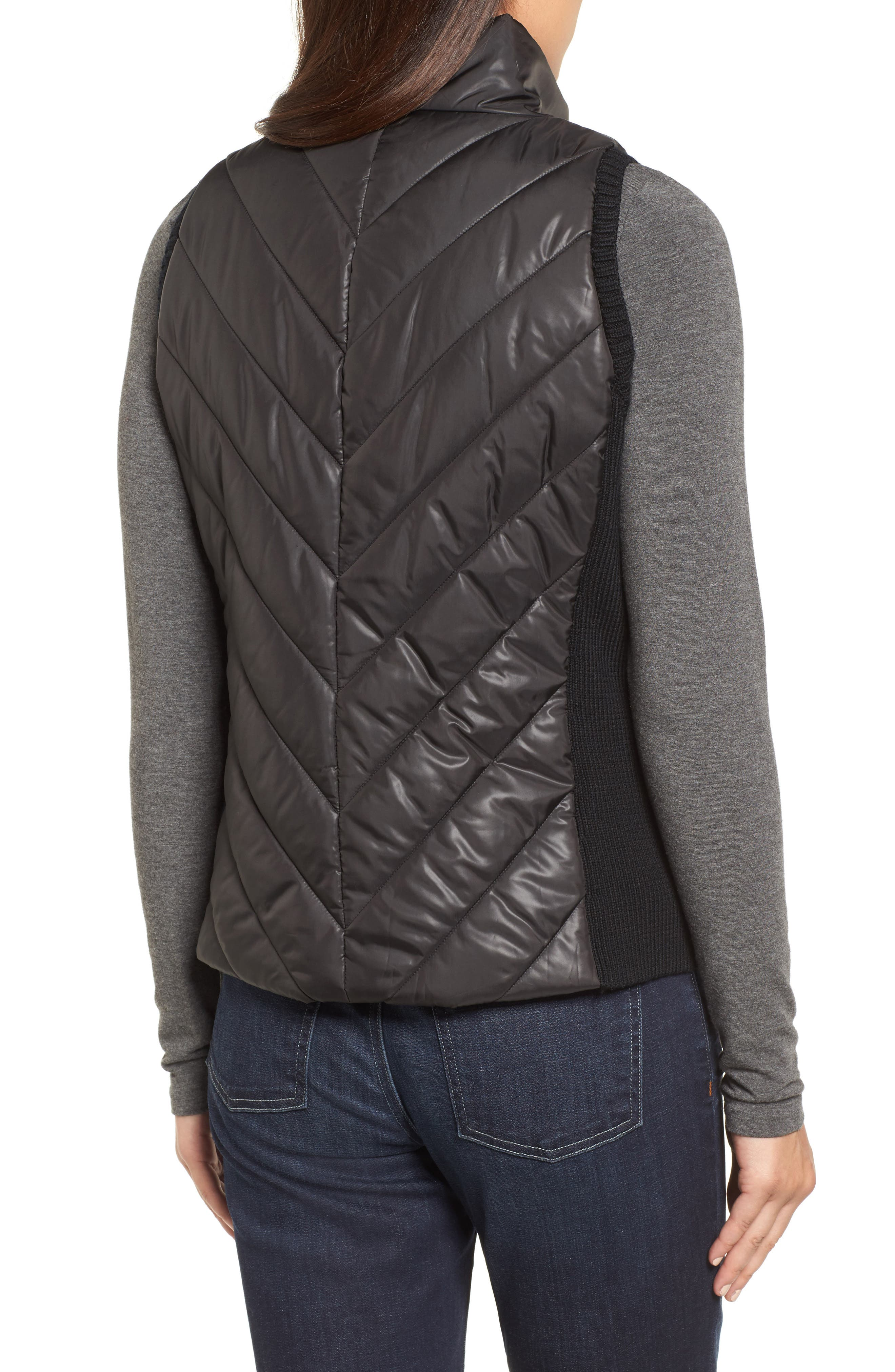 Merino Wool Trim Puffer Vest,                             Alternate thumbnail 2, color,                             001