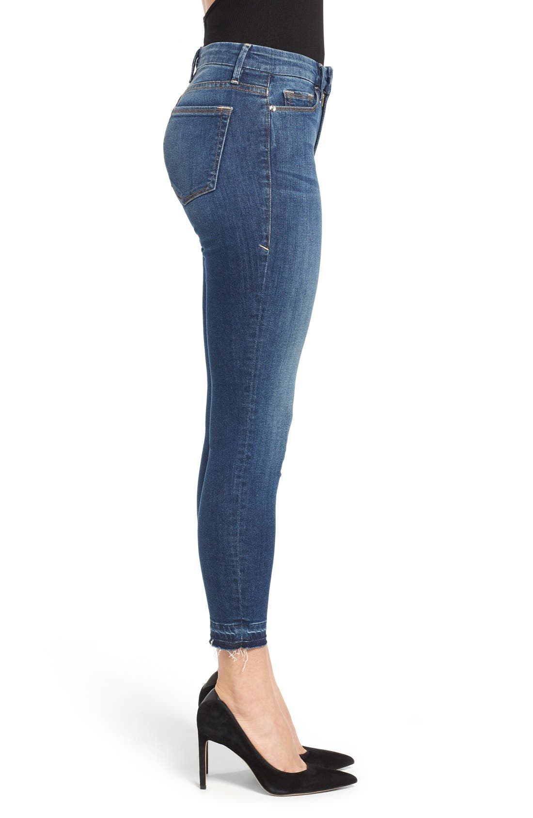 Good Legs High Rise Crop Released Hem Skinny Jeans,                             Alternate thumbnail 3, color,                             401