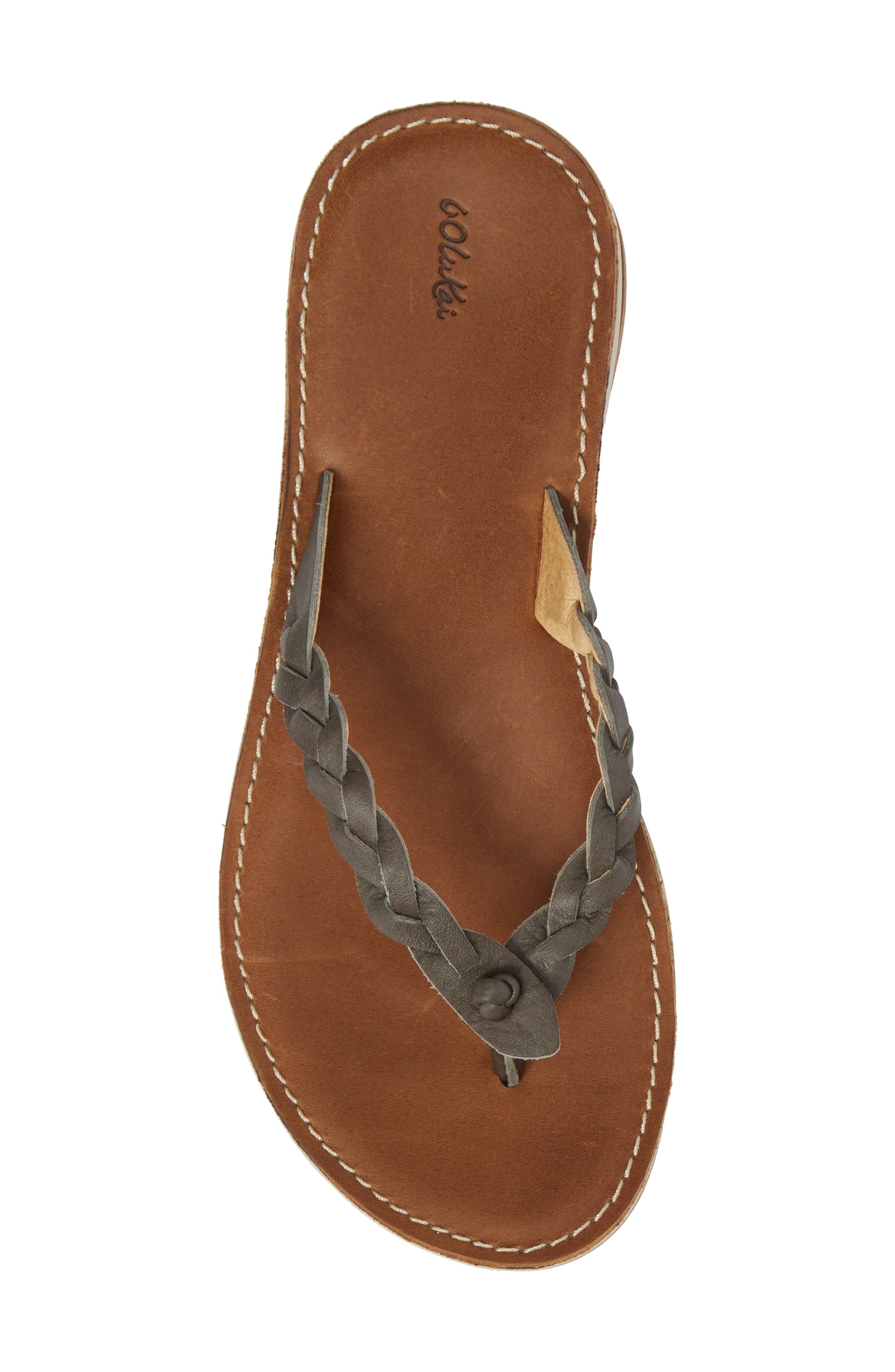Kahiko Flip-Flop,                             Alternate thumbnail 5, color,                             SLATE/ TAN LEATHER