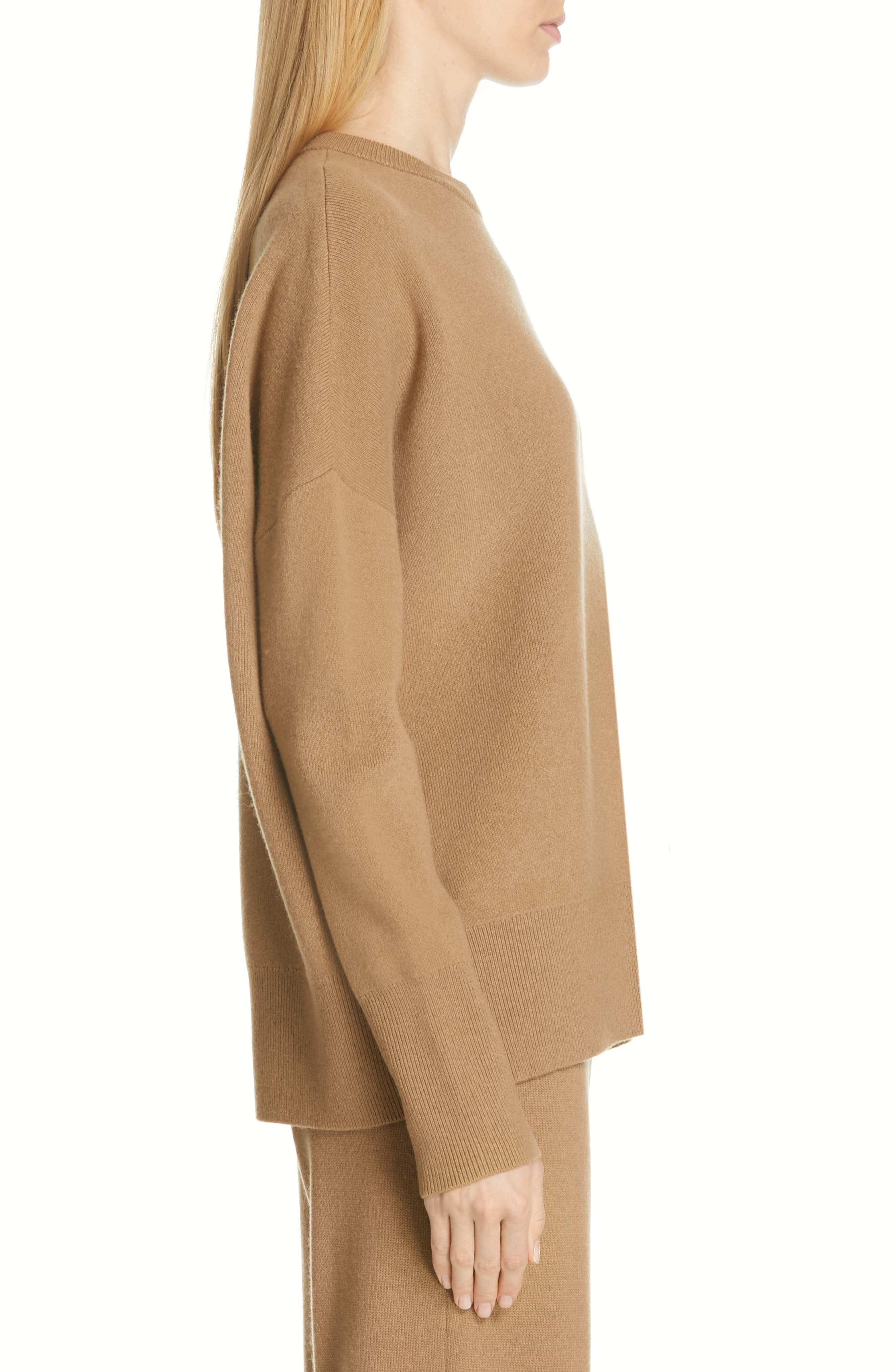 Relaxed Drop Shoulder Wool & Cashmere Sweater,                             Alternate thumbnail 3, color,                             280