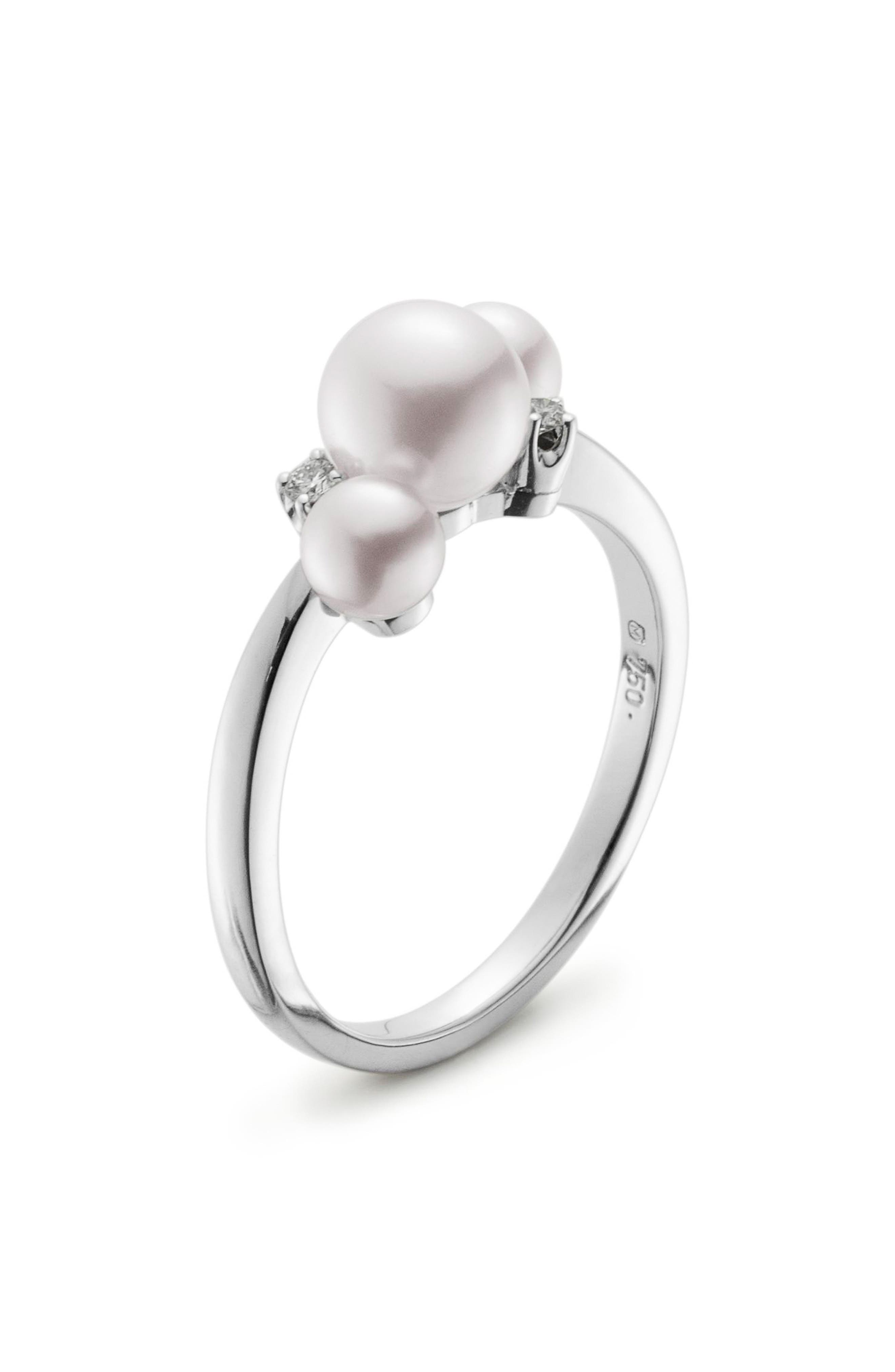 Pearl & Diamond Ring,                         Main,                         color, WHITE GOLD