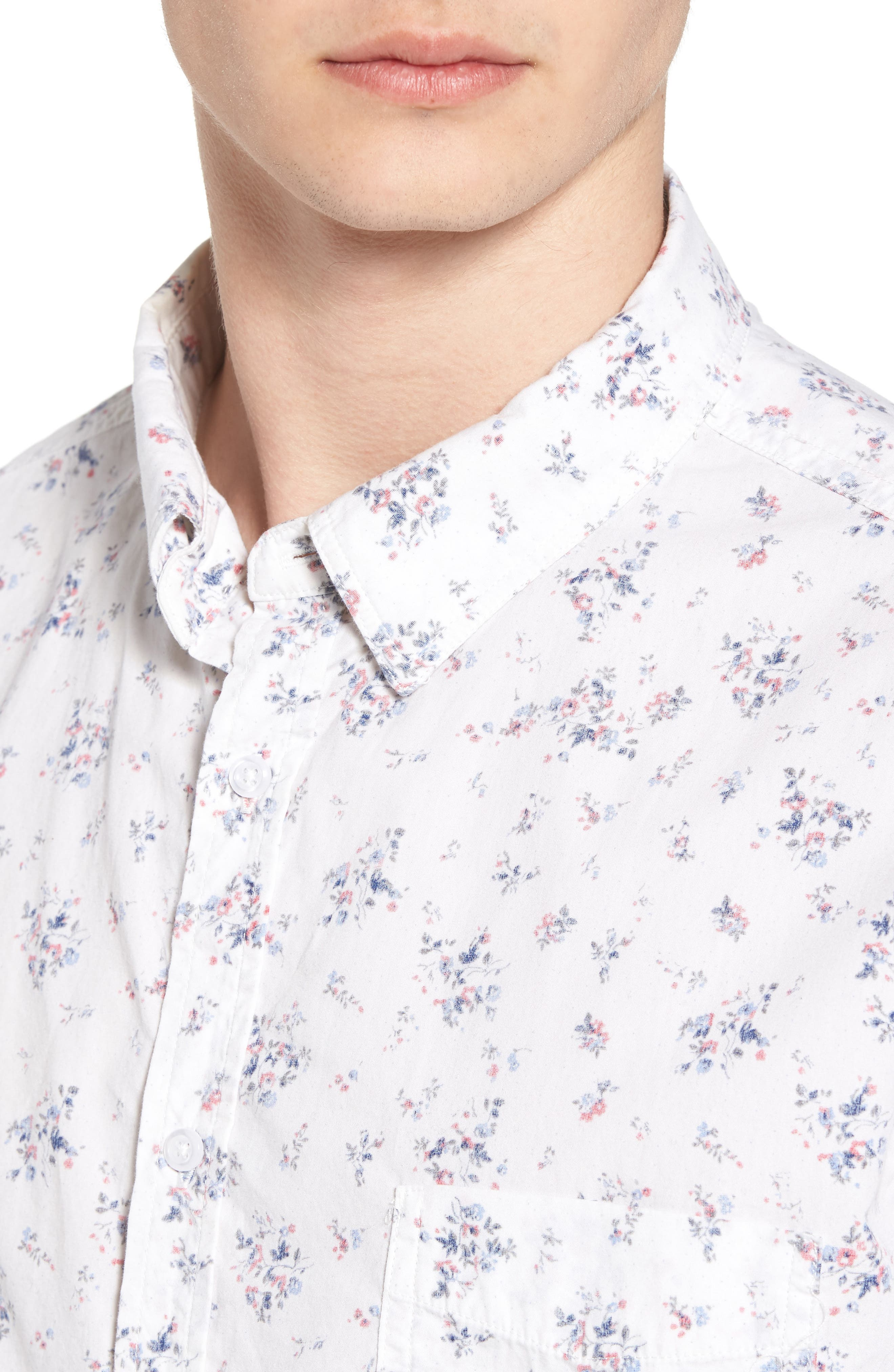Carson Slim Fit Floral Print Sport Shirt,                             Alternate thumbnail 4, color,                             100