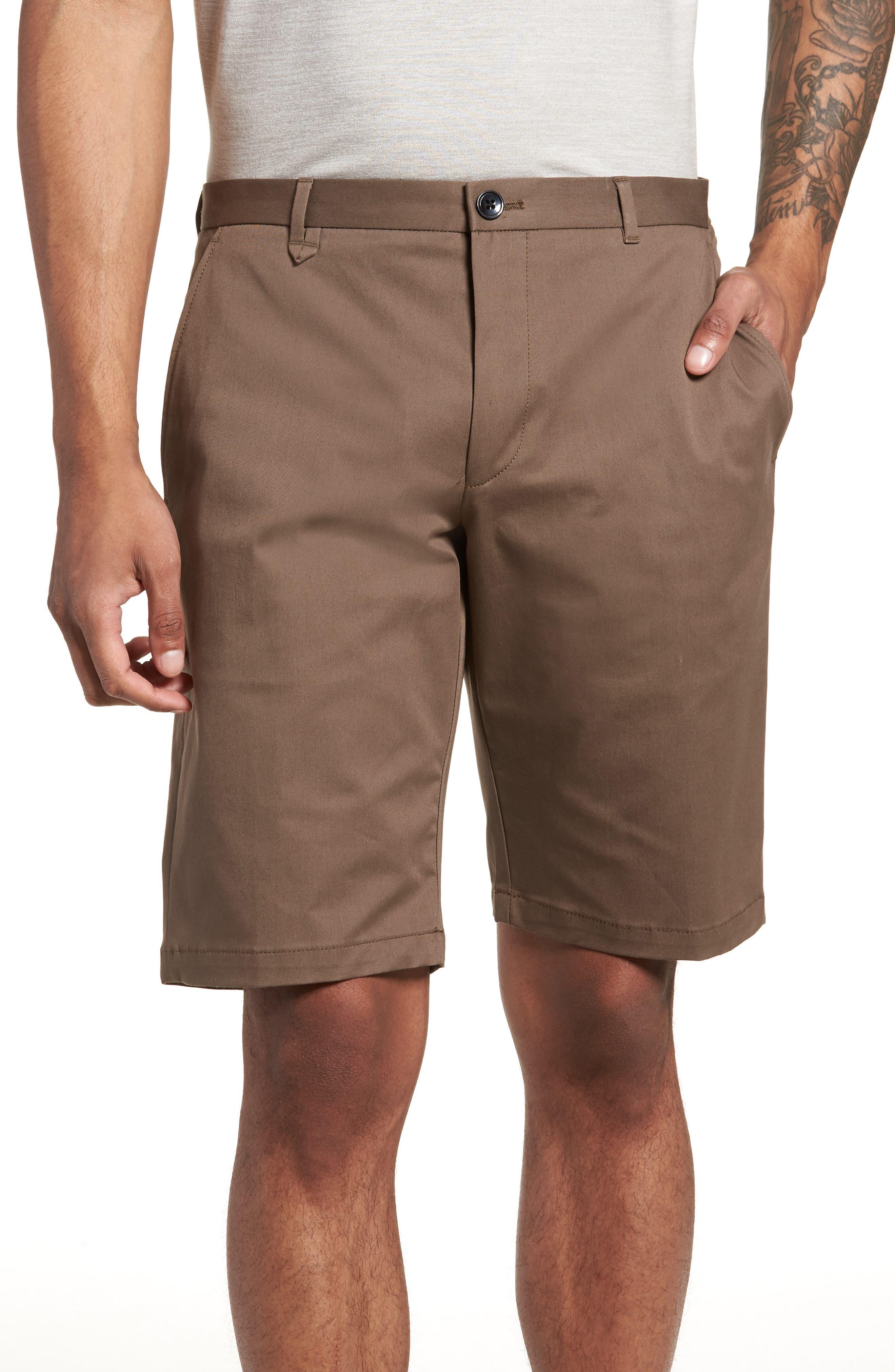 HUGO,                             Hano Flat Front Shorts,                             Main thumbnail 1, color,                             250