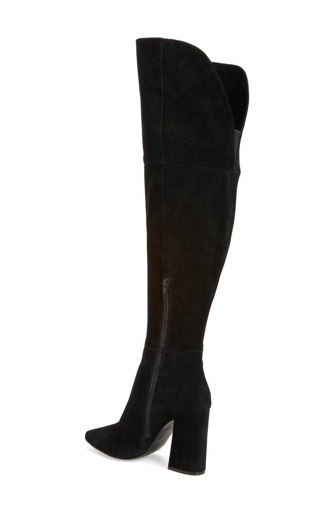 'Saffron' Over the Knee Boot,                             Alternate thumbnail 2, color,                             BLACK SUEDE