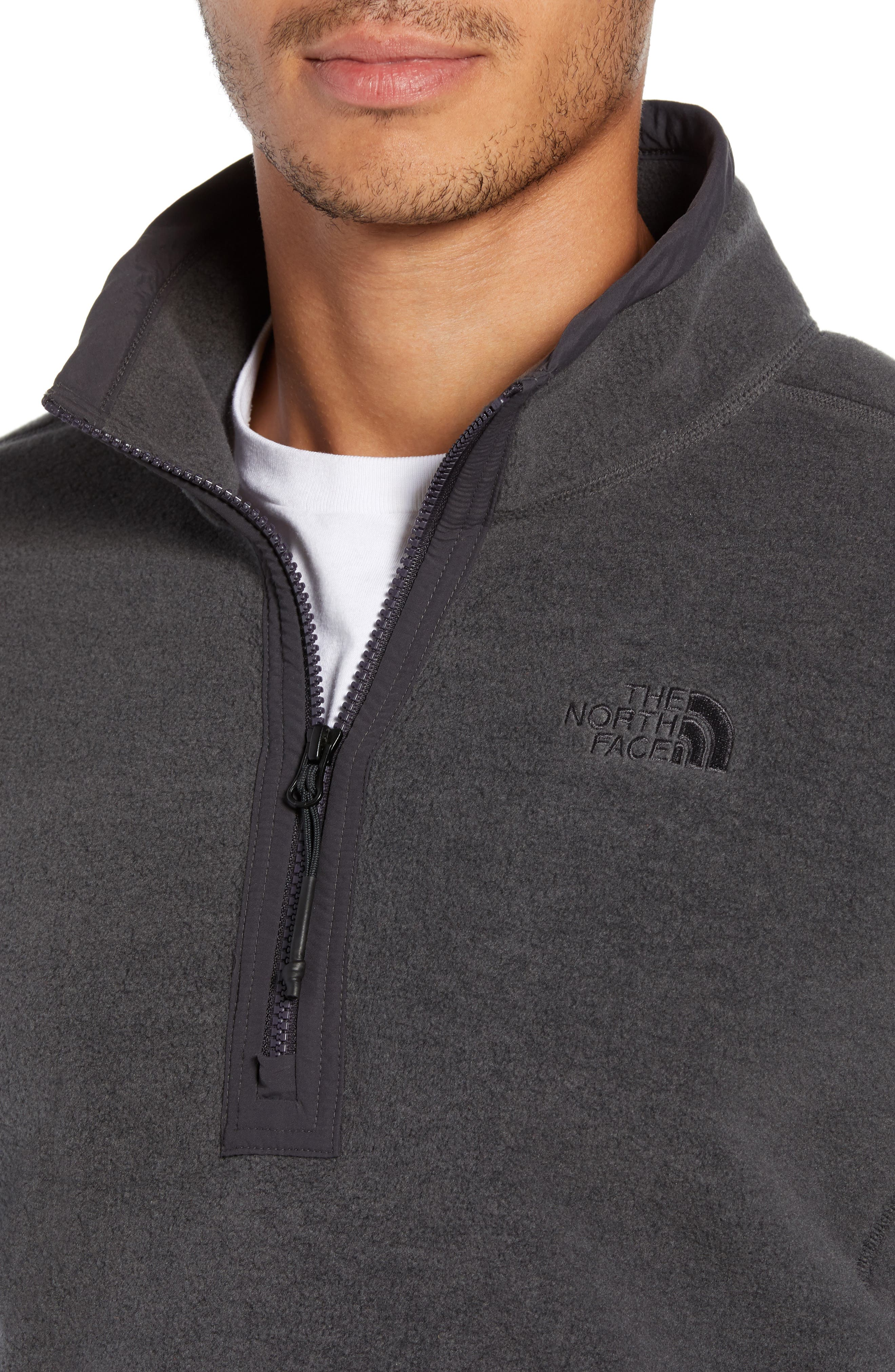 Pyrite Fleece Quarter Zip Pullover,                             Alternate thumbnail 4, color,                             TNF DARK GREY HEATHER