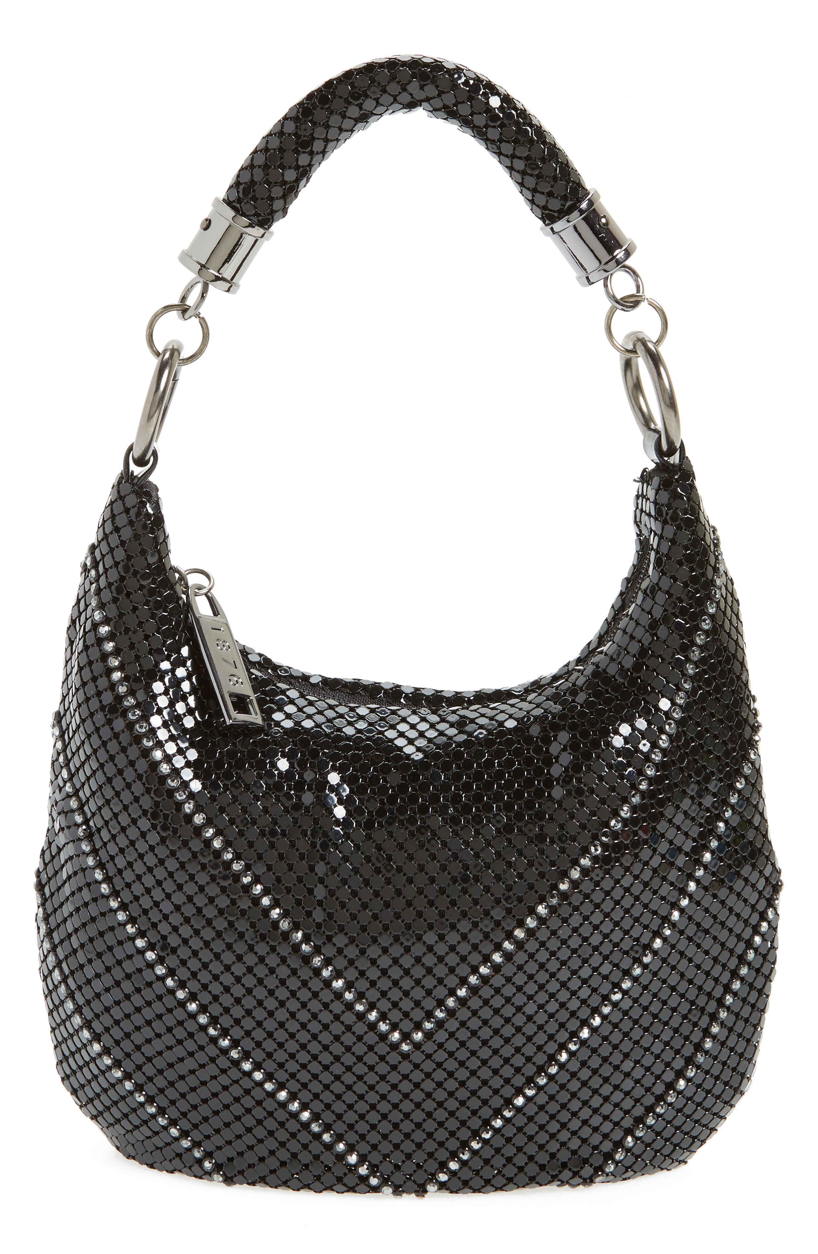 Little Black Mesh Shoulder Bag,                             Main thumbnail 1, color,                             BLACK