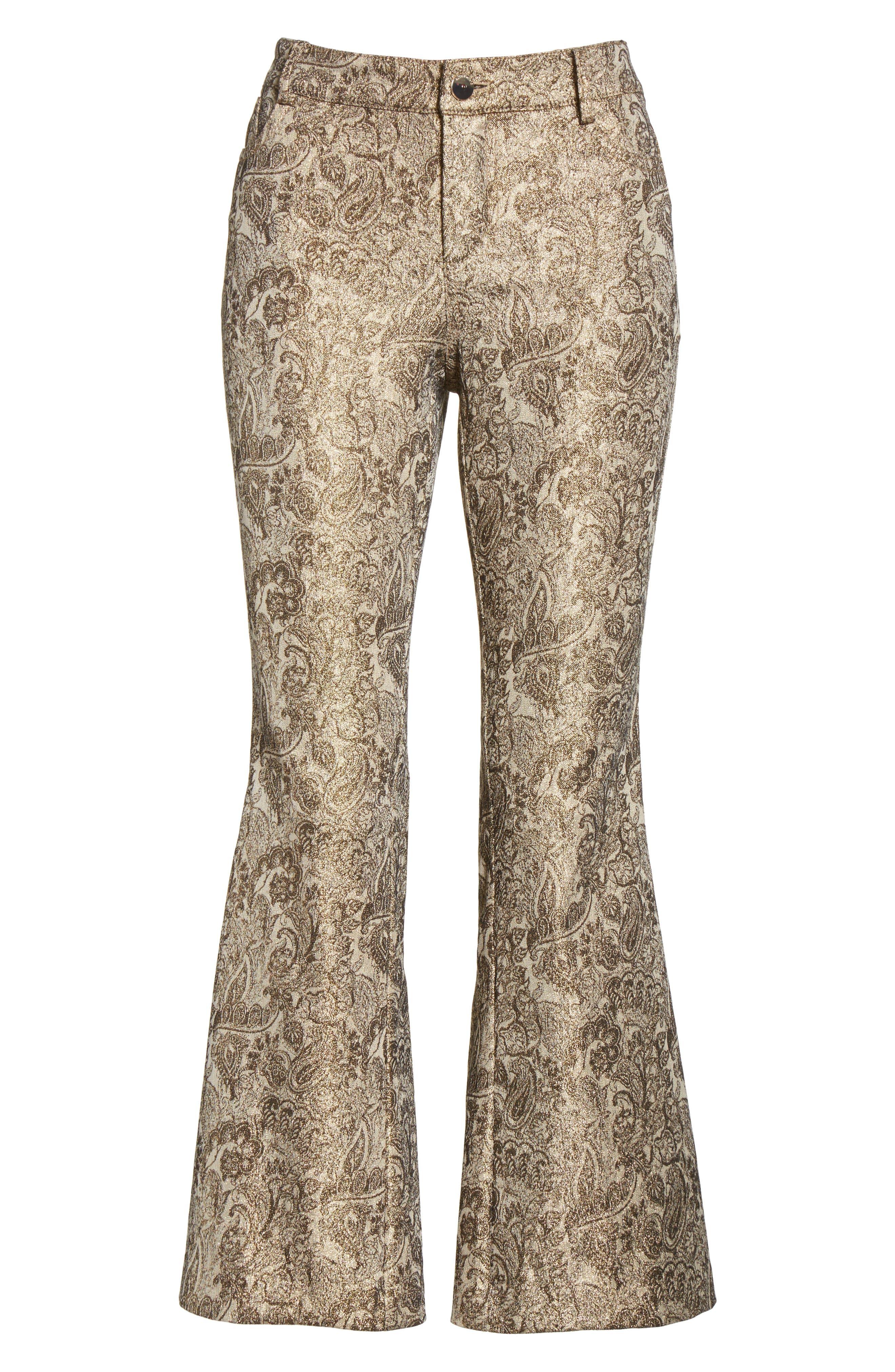 Drew Metallic Crop Bell Pants,                             Alternate thumbnail 6, color,                             716