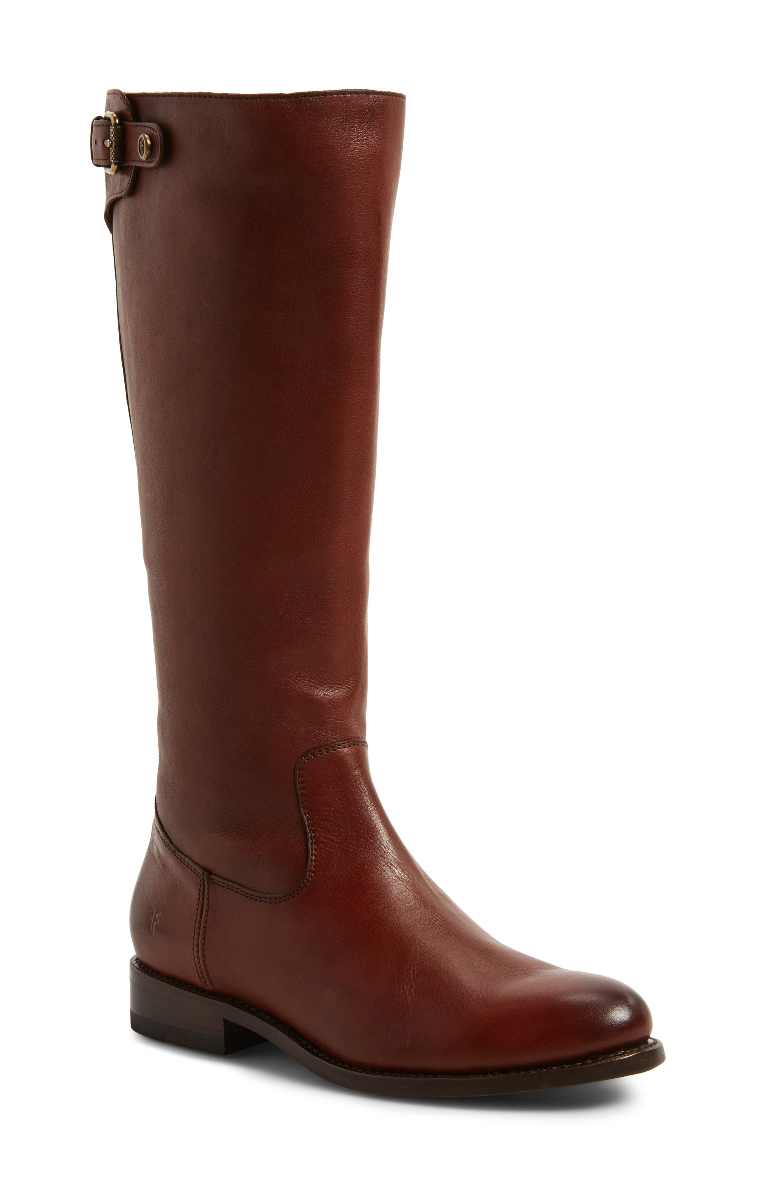 Frye Jayden Buckle Back Zip Boot, Ext Calf- Brown
