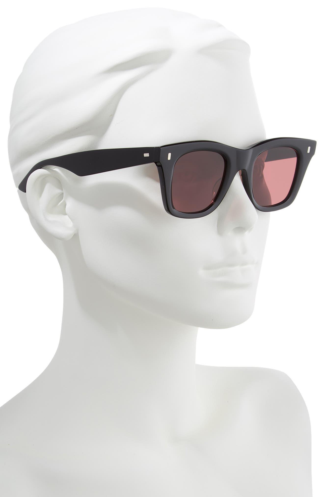 46mm Square Sunglasses,                             Alternate thumbnail 2, color,                             BLACK