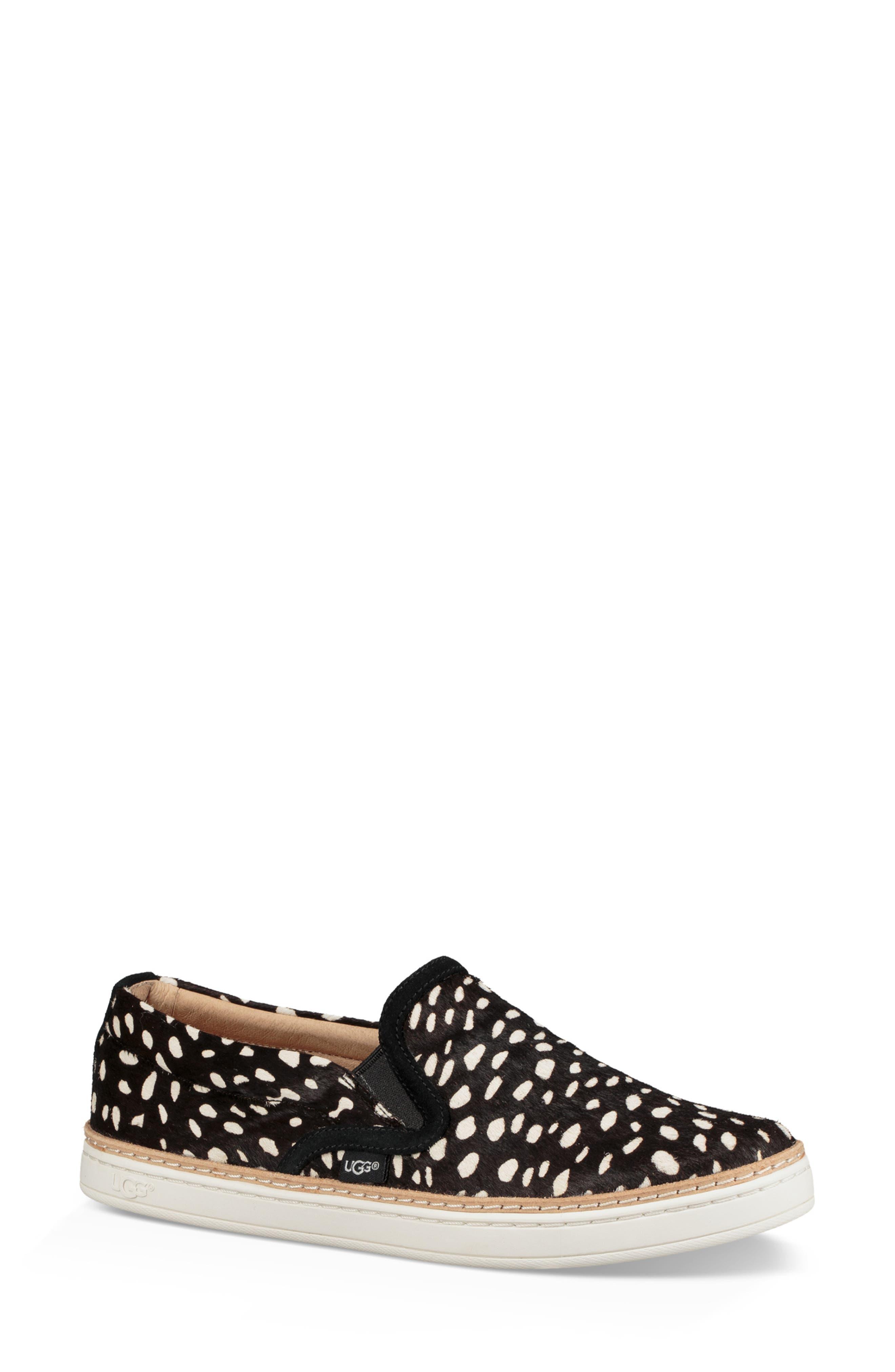 Soleda Genuine Calf Hair Slip-On Sneaker,                             Main thumbnail 1, color,                             BLACK