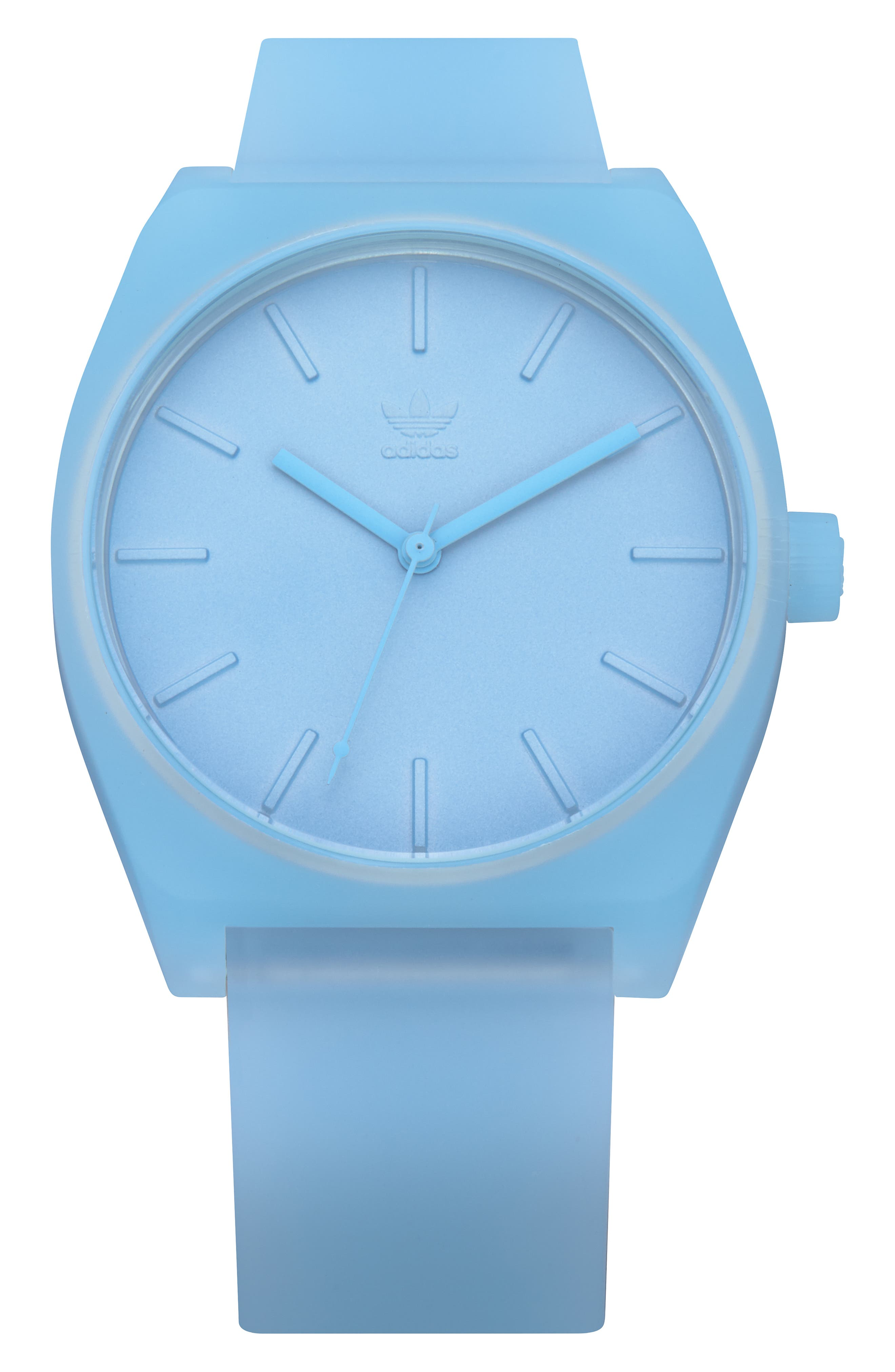 Process Silicone Strap Watch, 38mm,                             Main thumbnail 1, color,                             CLEAR BLUE