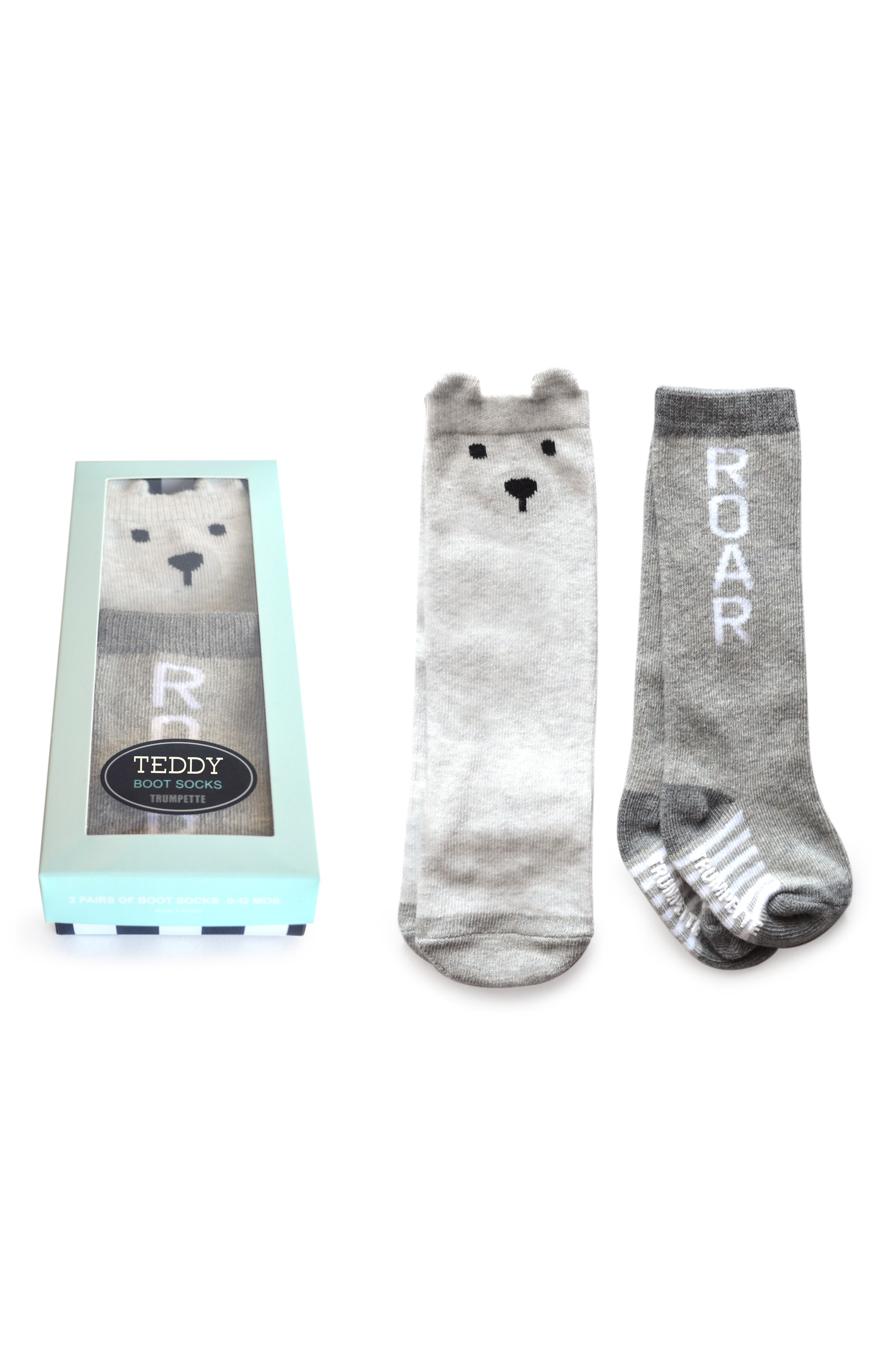 Teddy 2-Pack Boot Socks,                             Main thumbnail 1, color,                             021