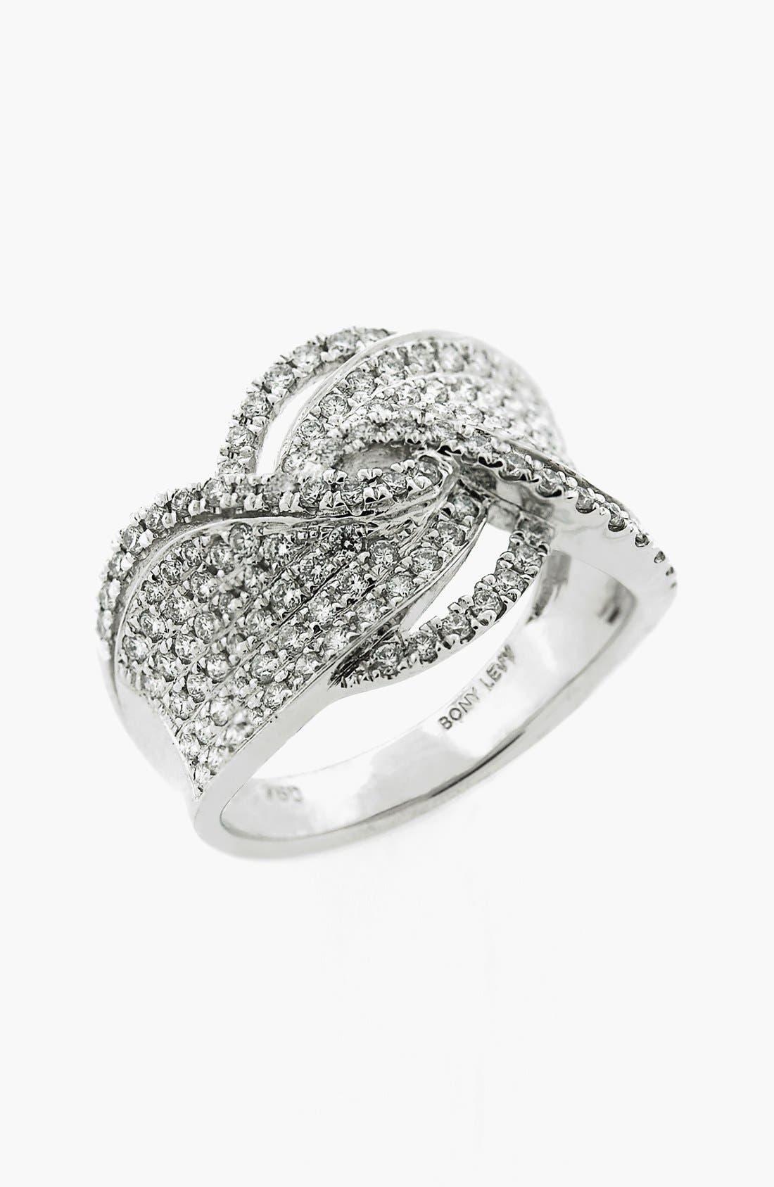 Weave Diamond Ring,                             Main thumbnail 1, color,                             WHITE GOLD