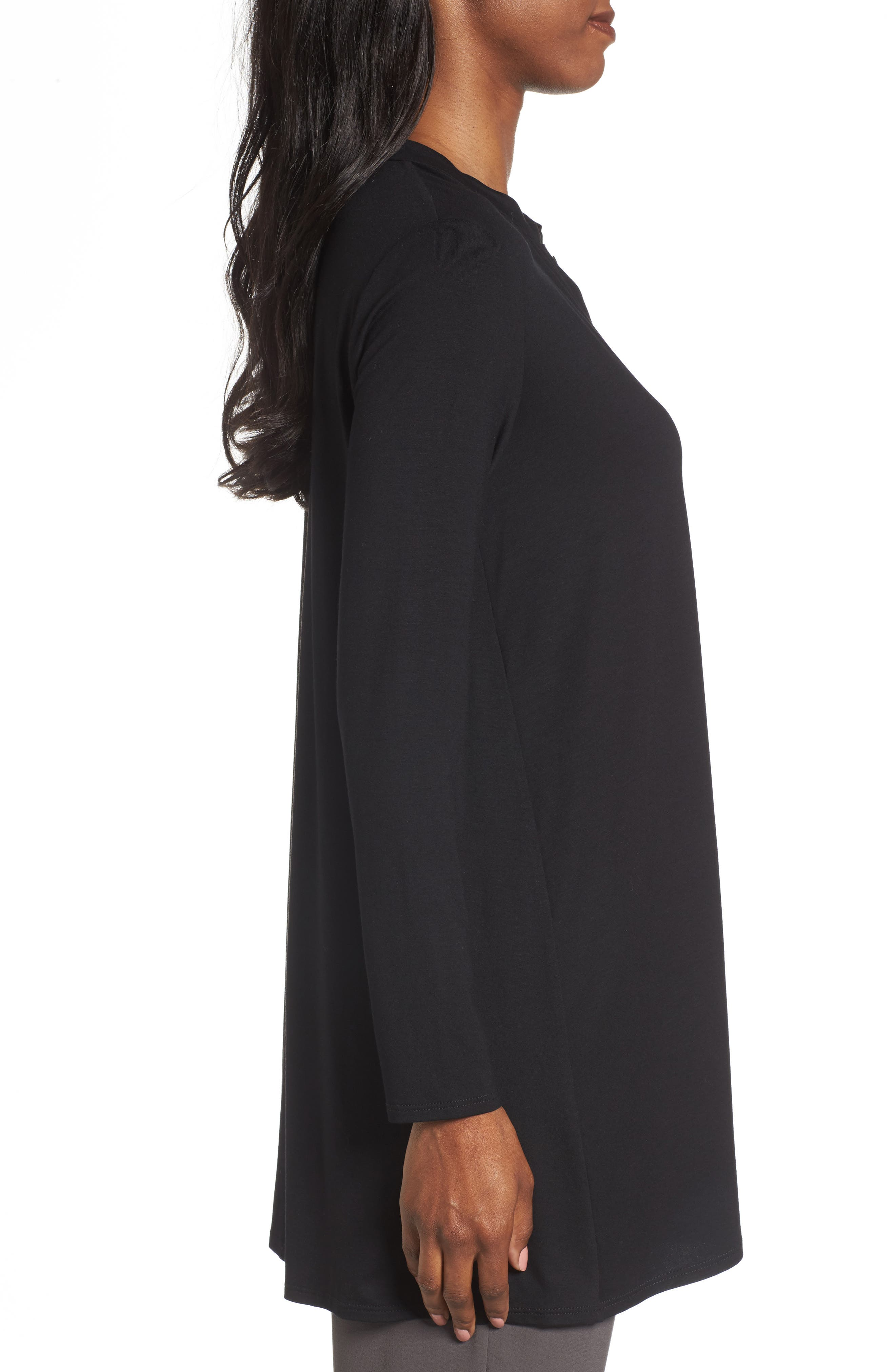 Button Front Jersey Tunic,                             Alternate thumbnail 3, color,                             001
