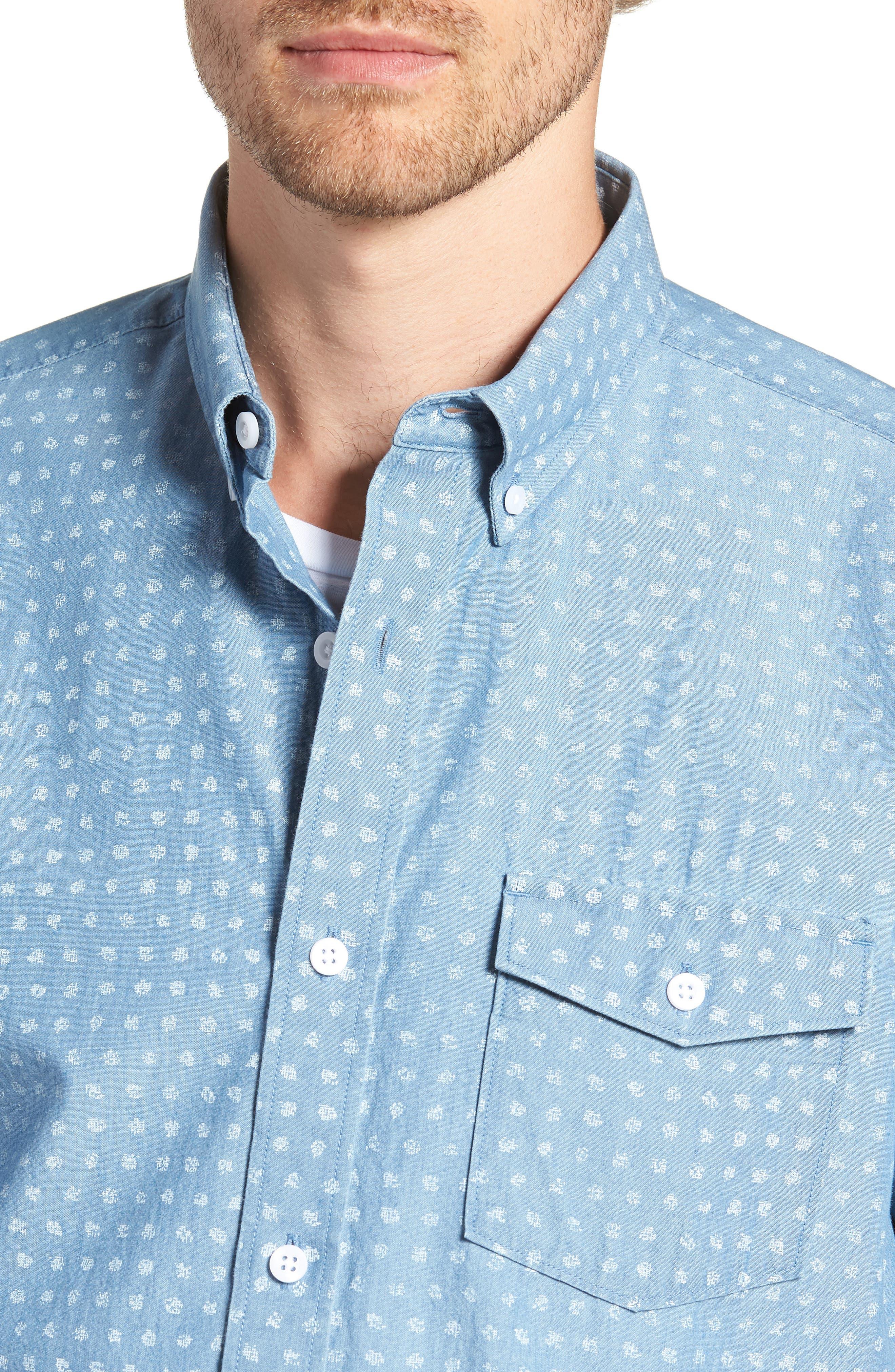 Ivy Trim Fit Dot Sport Shirt,                             Alternate thumbnail 4, color,                             420