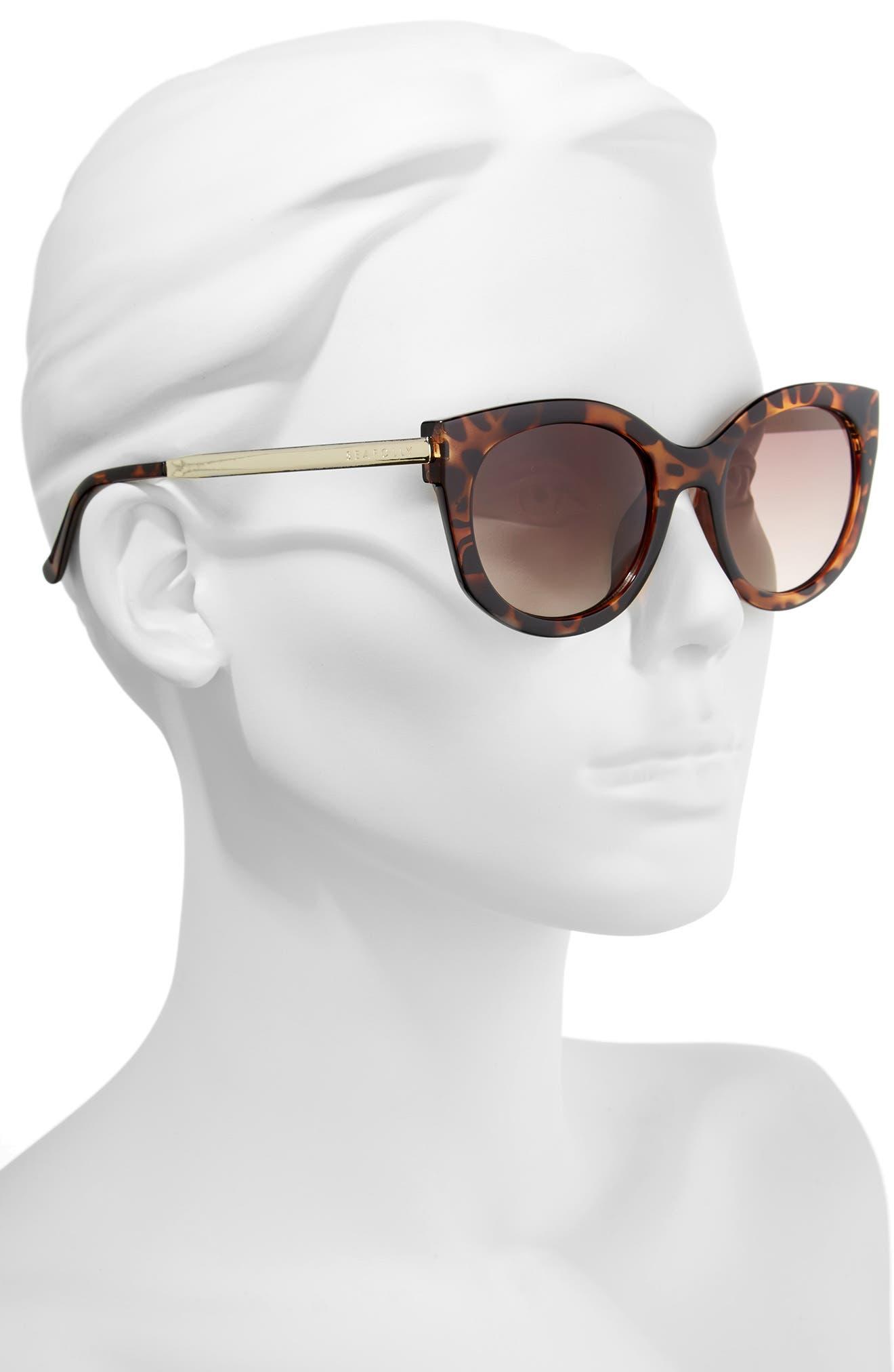 Long Beach 51mm Cat Eye Sunglasses,                             Alternate thumbnail 2, color,                             DARK TORT