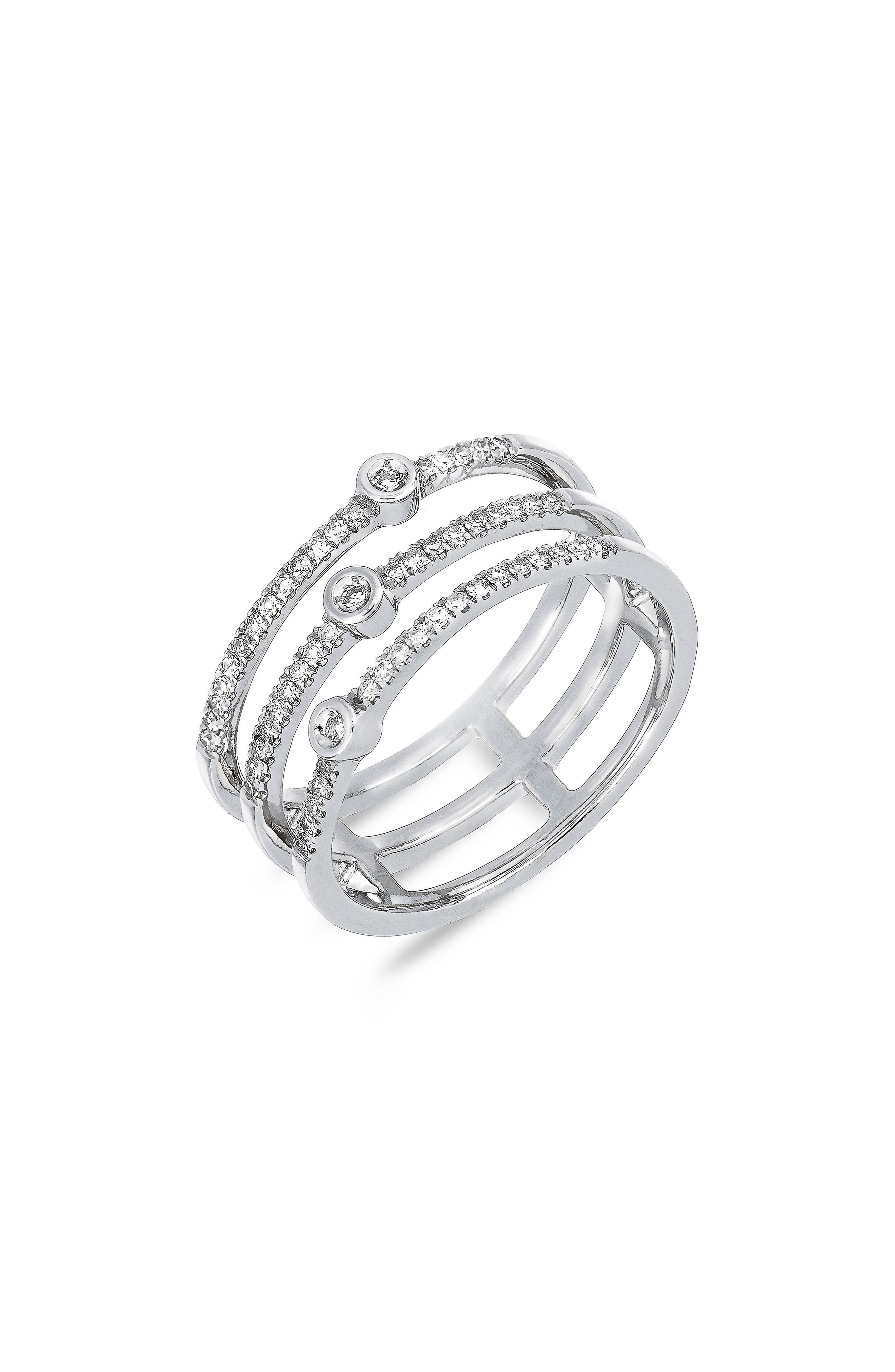 Carrière Triple Row Diamond Stackable Ring,                             Main thumbnail 1, color,                             STERLING SILVER/ DIAMOND