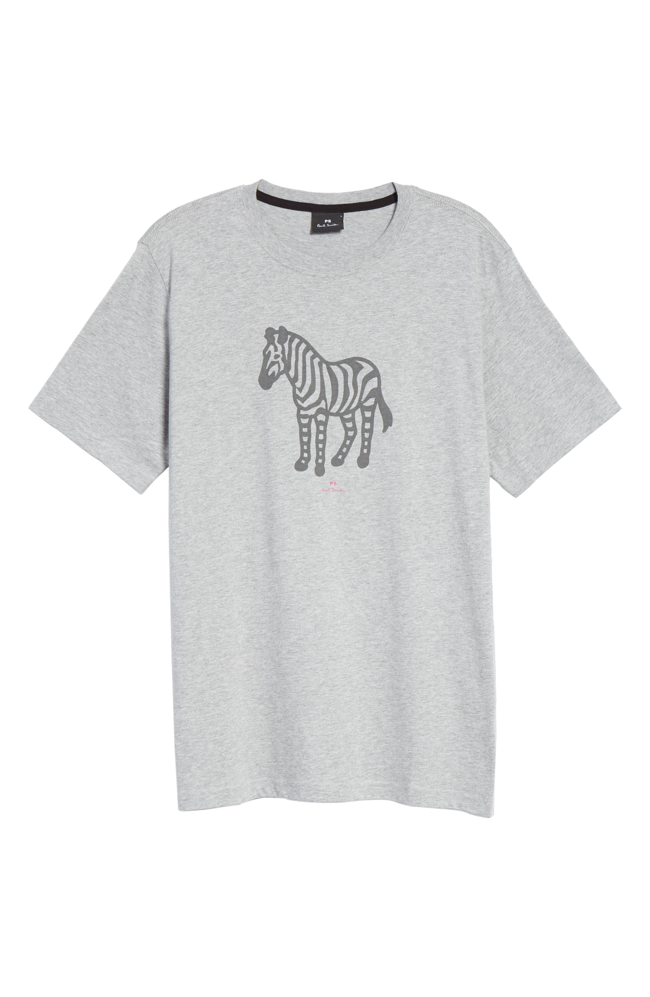 Zebra Organic Cotton T-Shirt,                             Alternate thumbnail 6, color,                             GREY