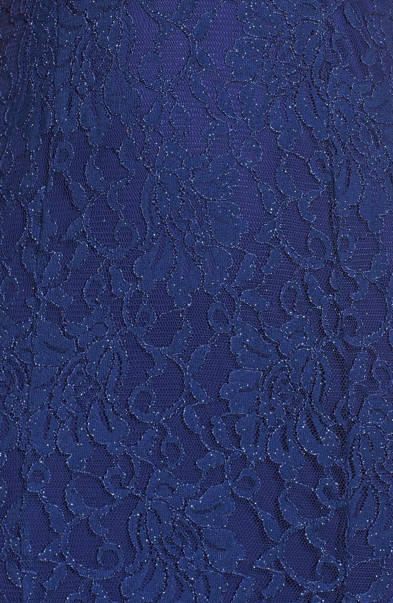 Scallop Off the Shoulder Lace Gown,                             Alternate thumbnail 5, color,                             553