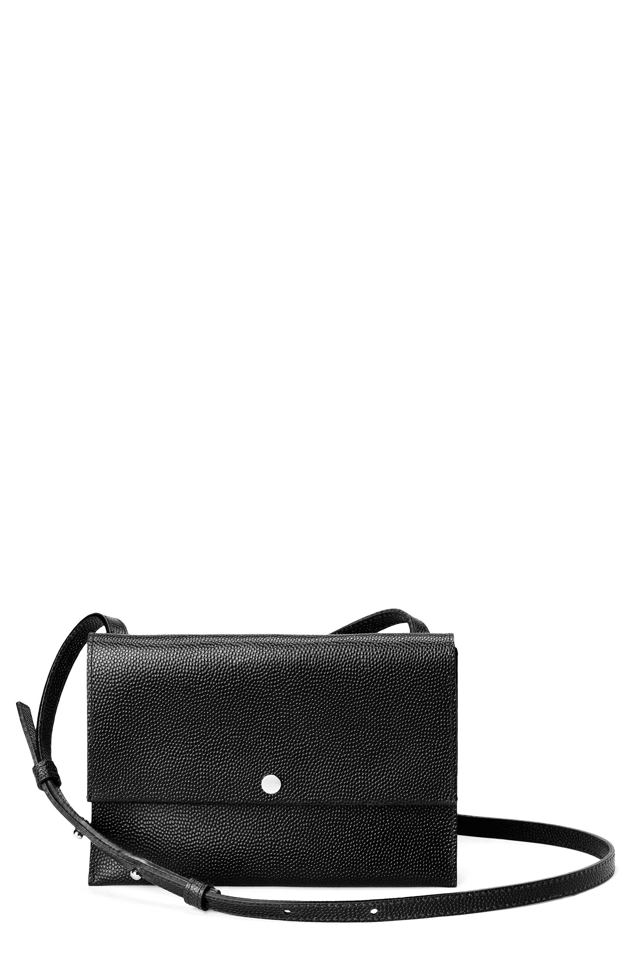 Leather Crossbody Bag,                             Main thumbnail 1, color,                             001