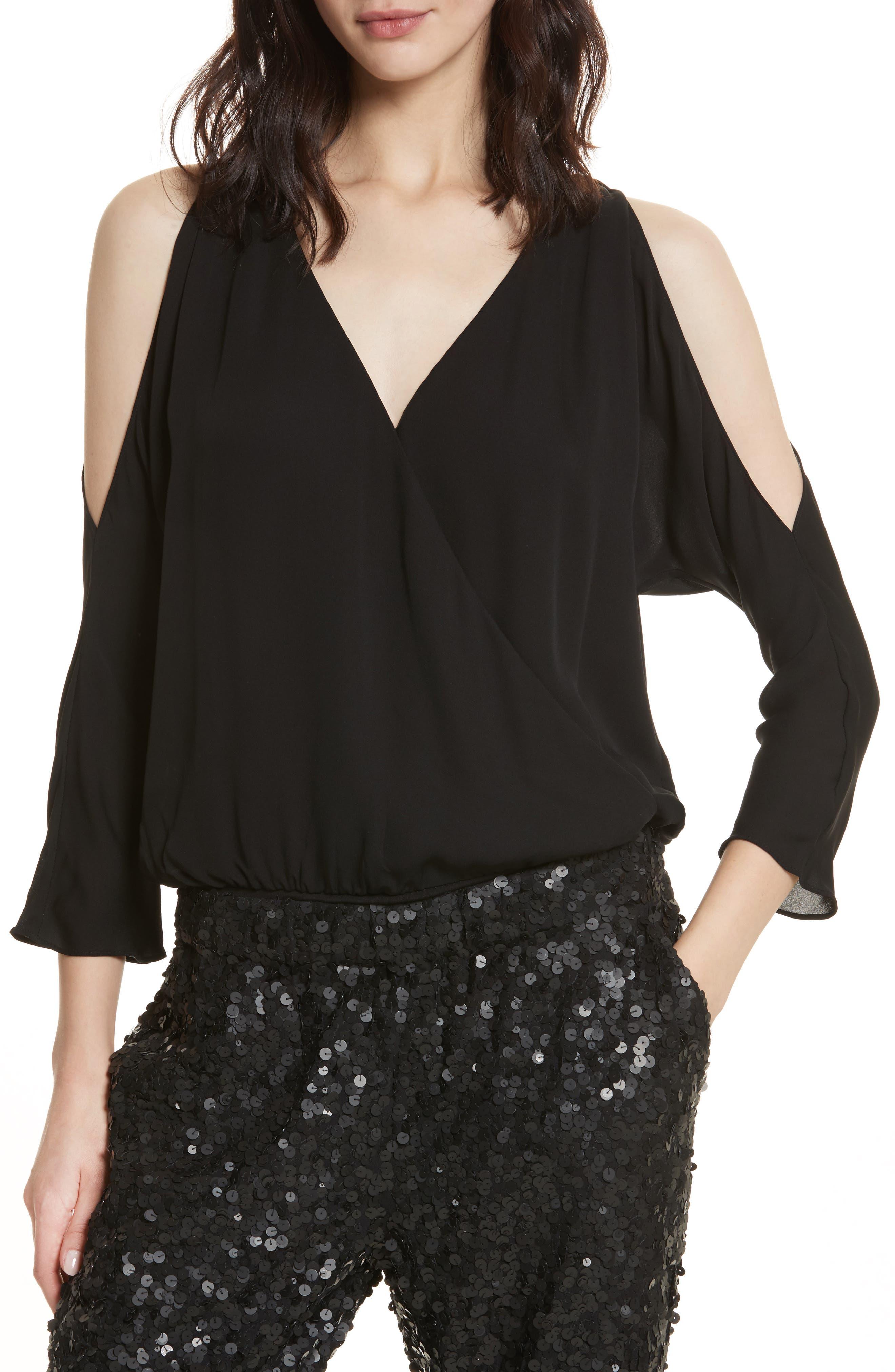 Ahsaki Cold Shoulder Silk Bodysuit,                         Main,                         color, 002