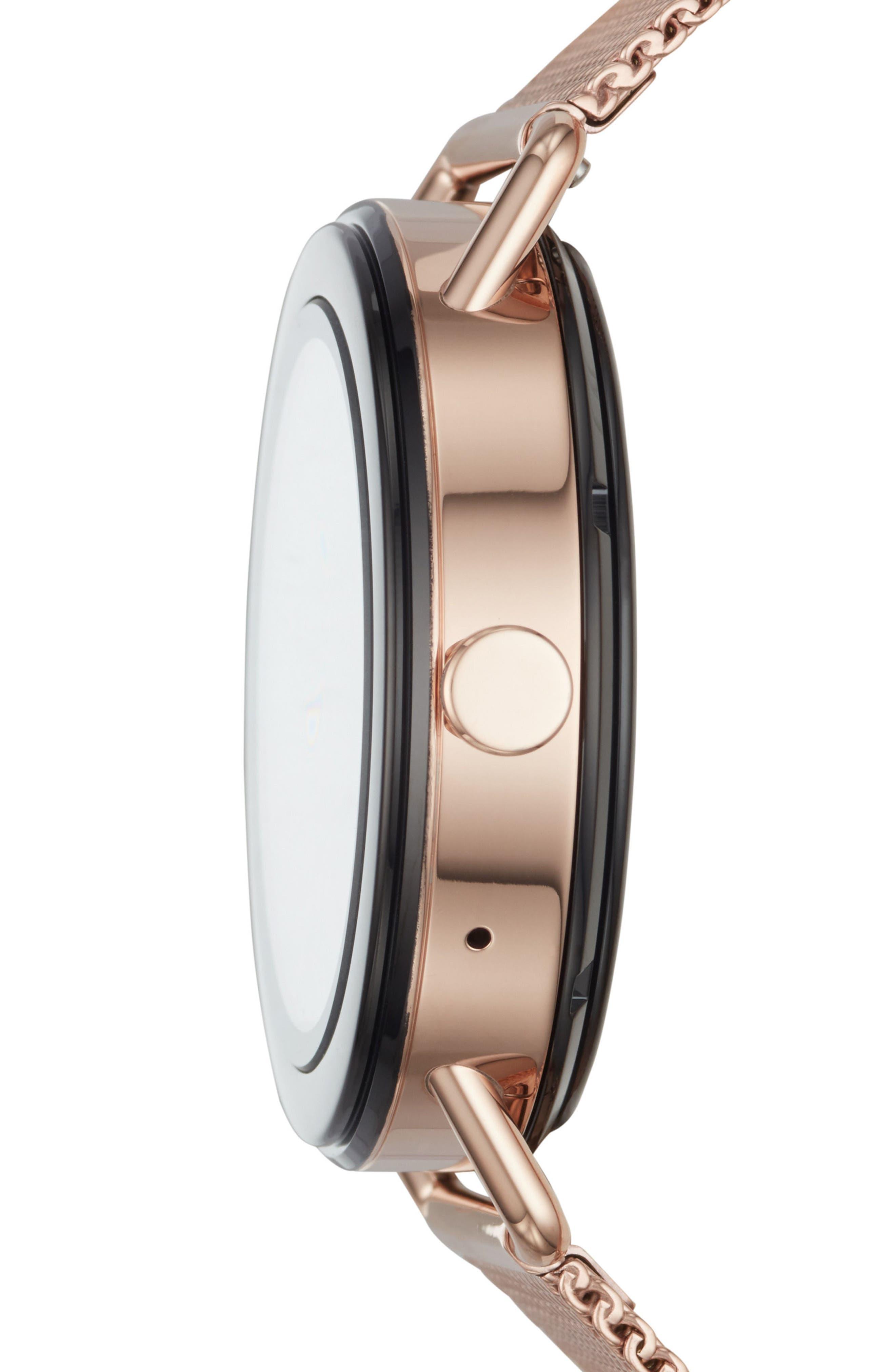Falster Touchscreen Mesh Strap Smart Watch, 42mm,                             Alternate thumbnail 3, color,                             ROSE GOLD
