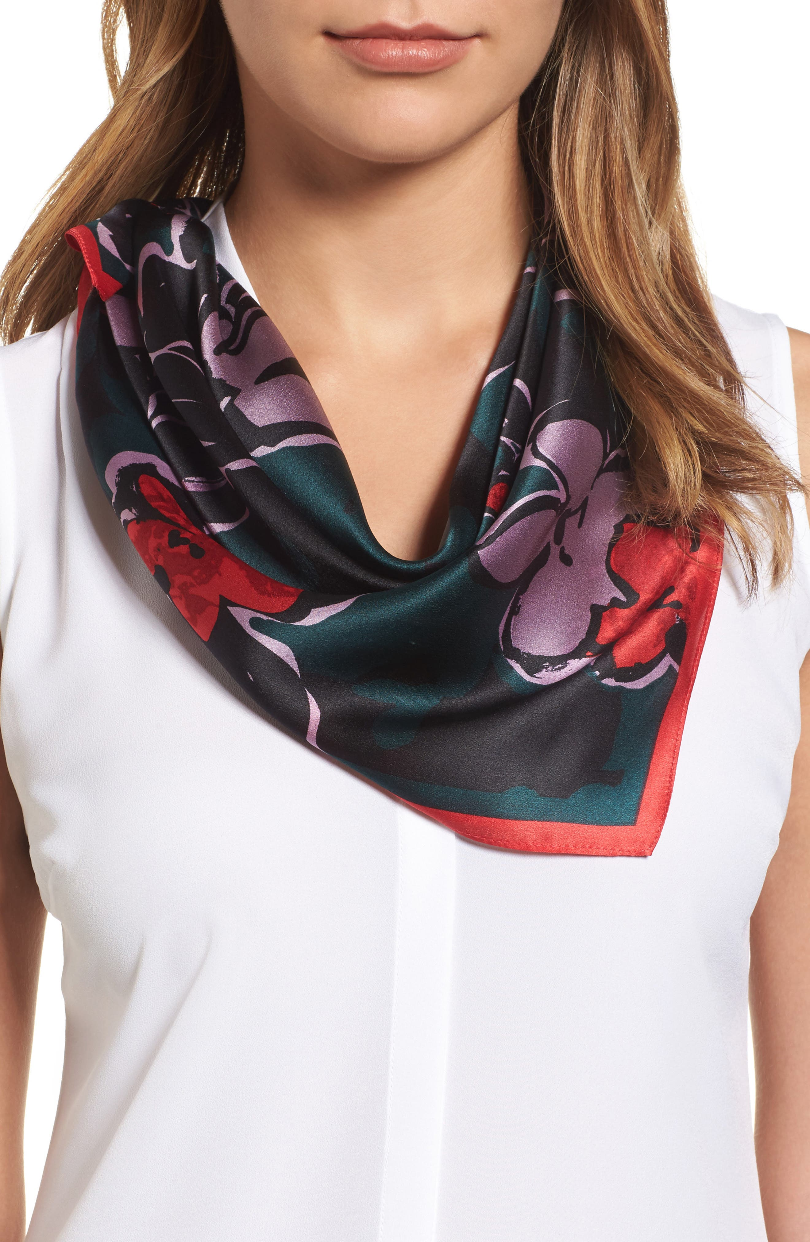 Bloom Floral Silk Square Scarf,                             Main thumbnail 1, color,