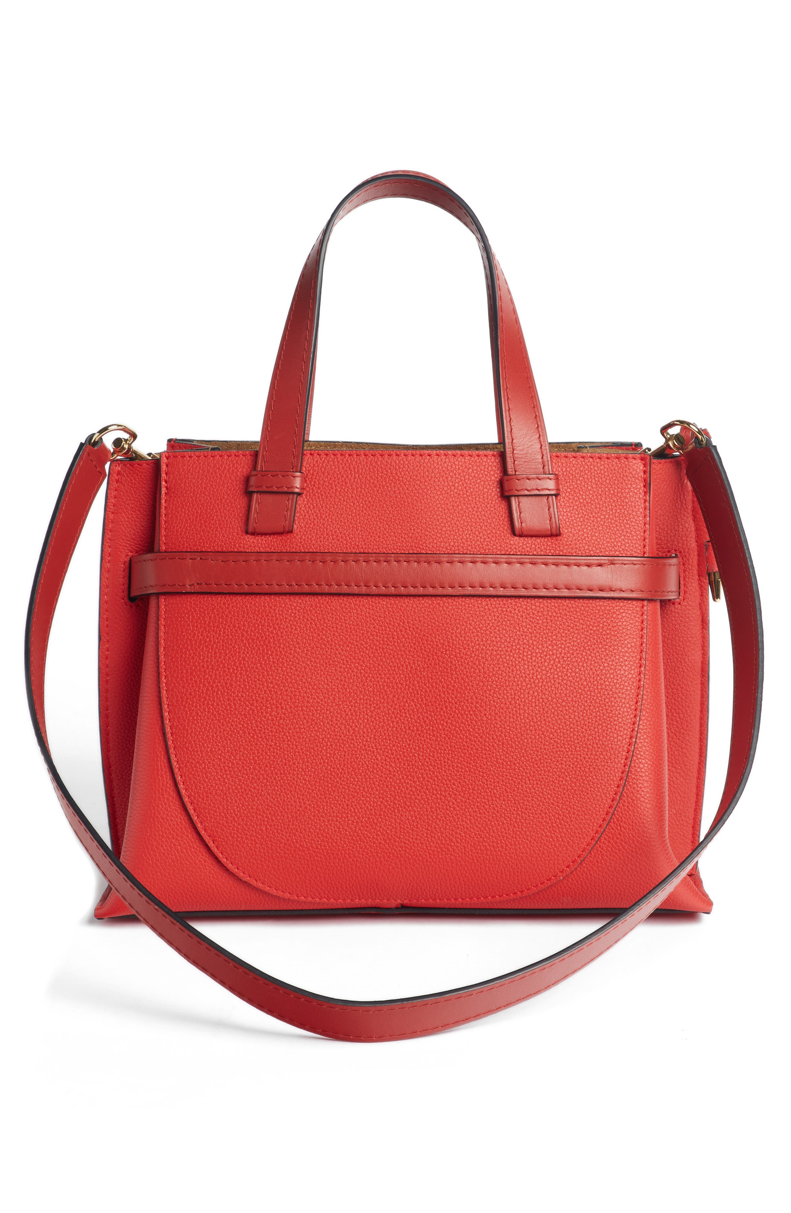 Gate Calfskin Leather Tote,                             Alternate thumbnail 3, color,                             SCARLET RED/ BURNT RED