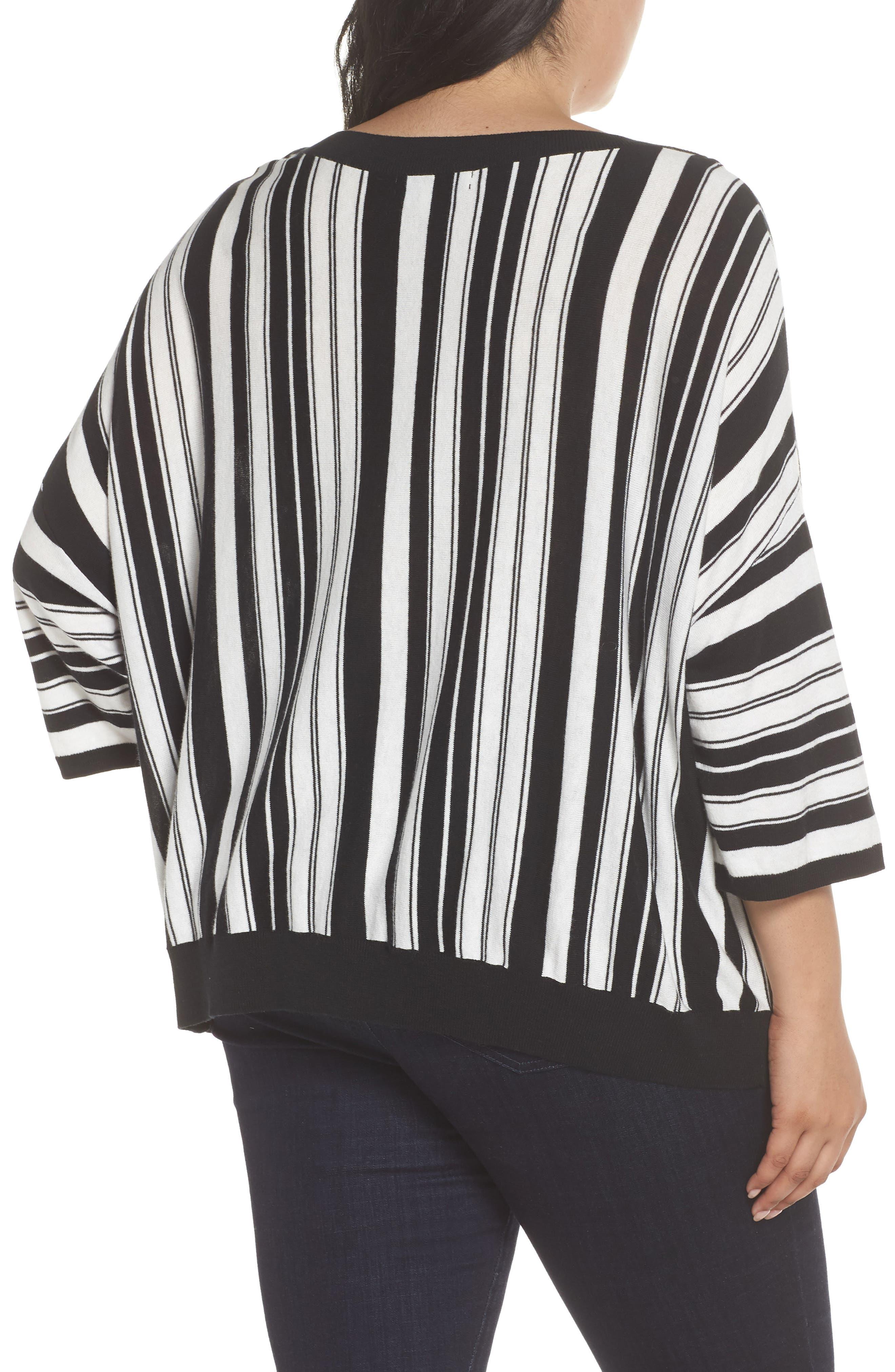 Stripe Pullover,                             Alternate thumbnail 2, color,                             BLACK- WHITE FIERCE STRIPE