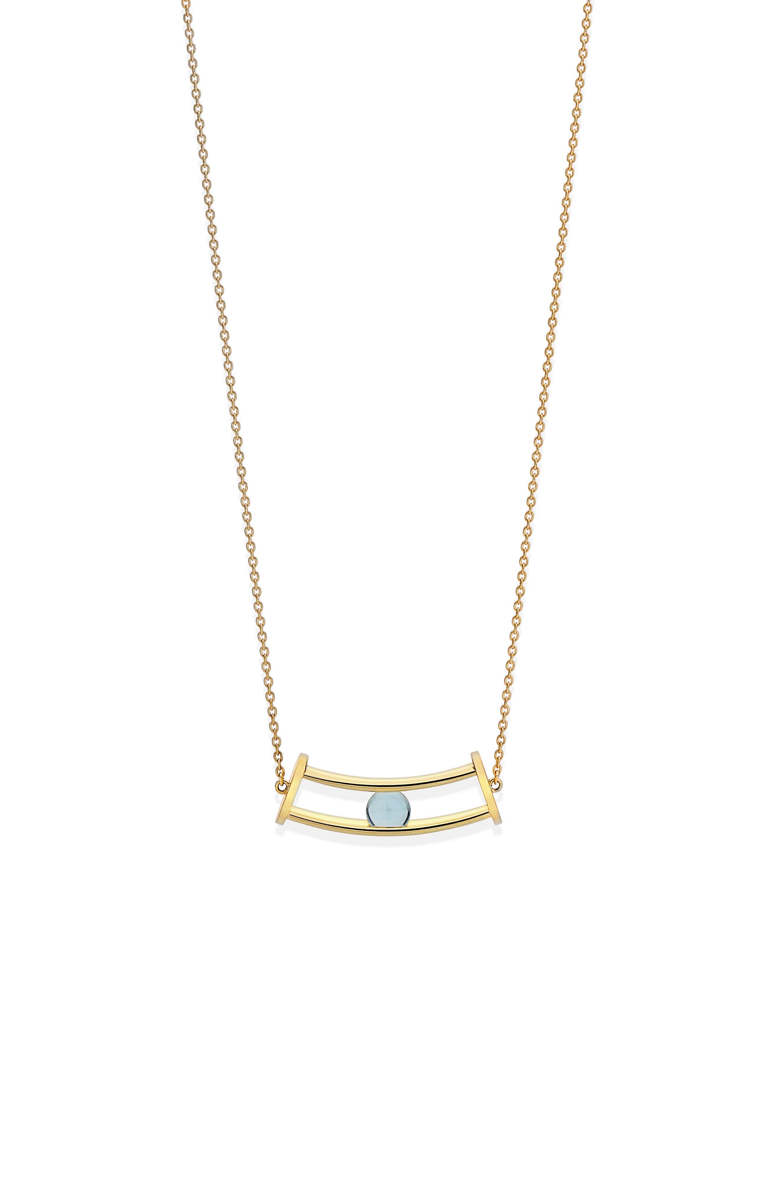 Simple Curve Blue Topaz Pendant Necklace,                             Alternate thumbnail 3, color,                             400