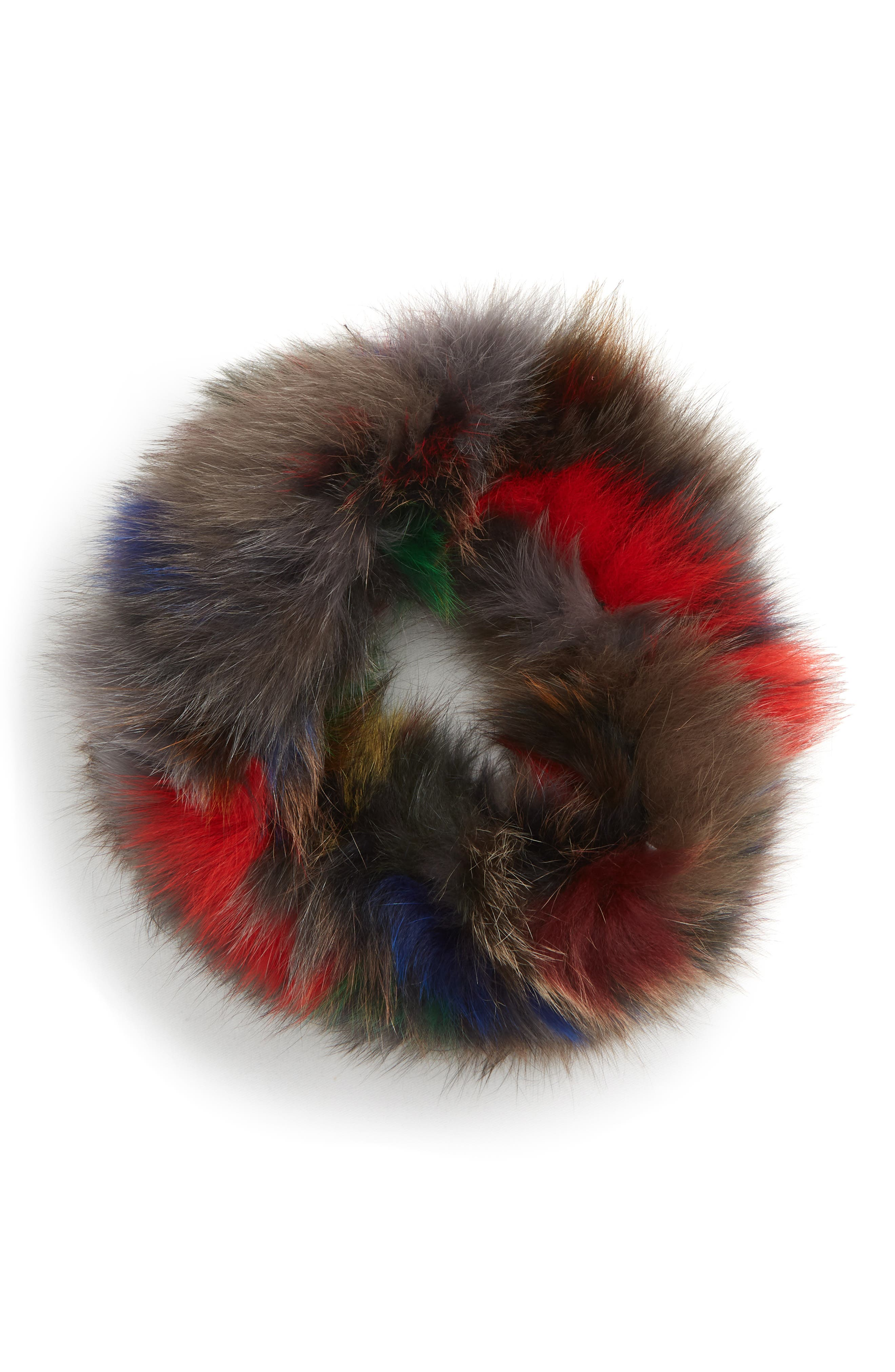 Genuine Fox Fur Cowl,                             Alternate thumbnail 2, color,                             BLACK/MULTI